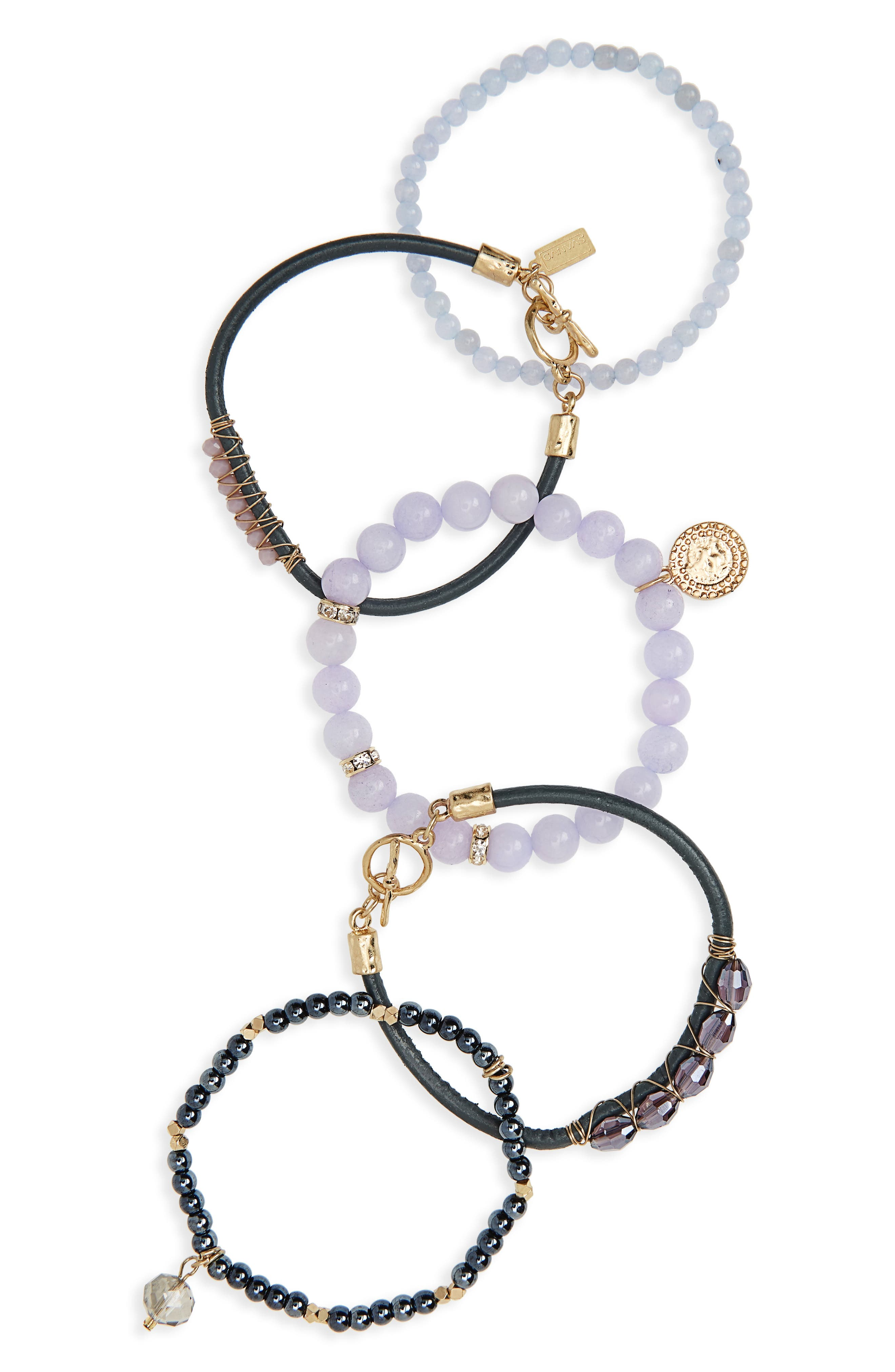 Canvas Jewelry 5-Piece Semiprecious Stone Stacking Bracelet
