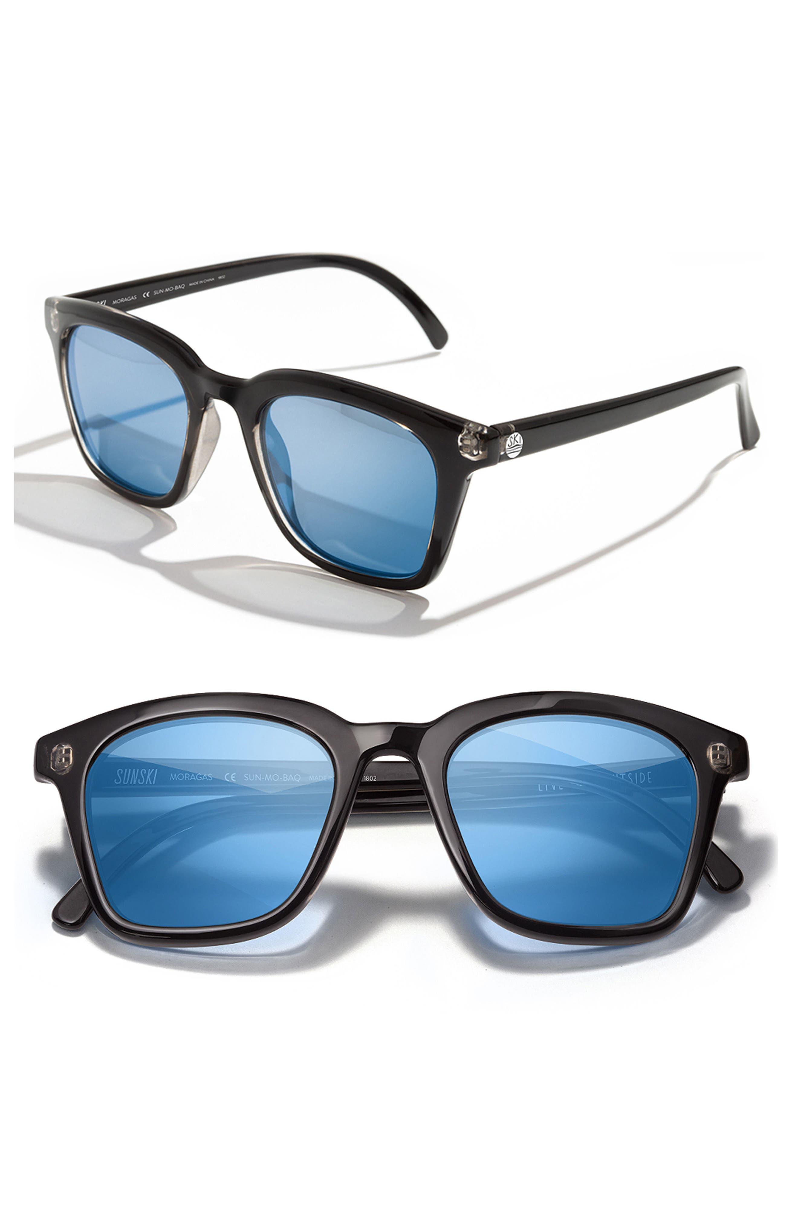 Moraga 47mm Polarized Sunglasses,                         Main,                         color, Black Aqua