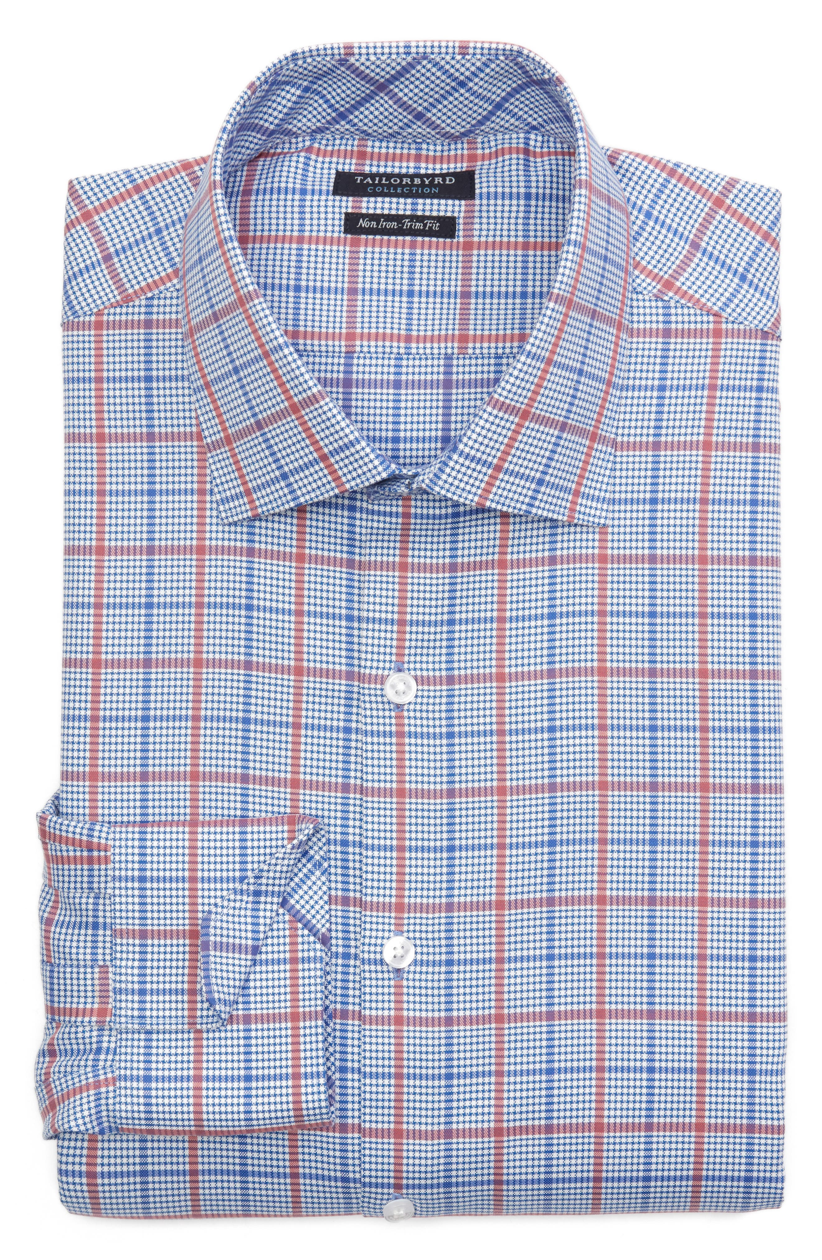 Kai Trim Fit Check Dress Shirt,                             Alternate thumbnail 6, color,                             Red/ Blue