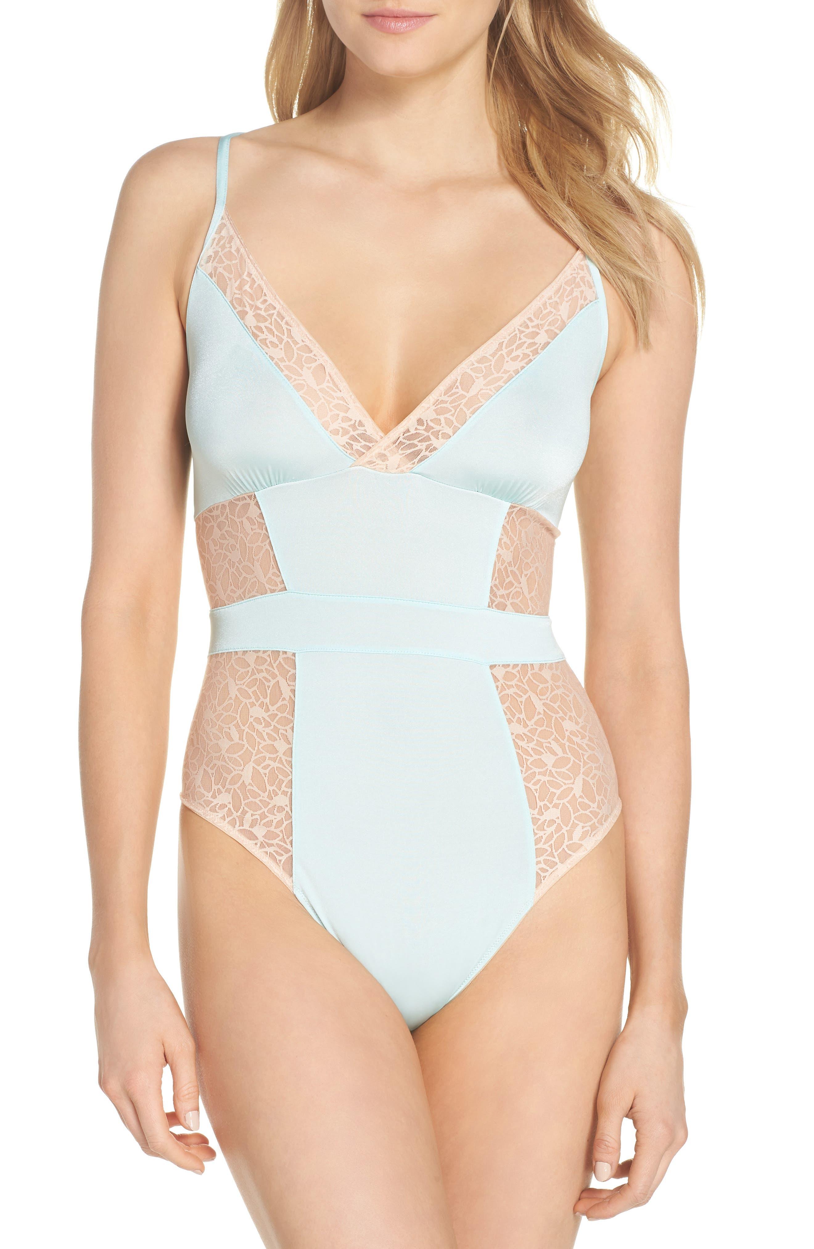 Satin Lace Bodysuit,                         Main,                         color, Blue Plume/ Pink Dust
