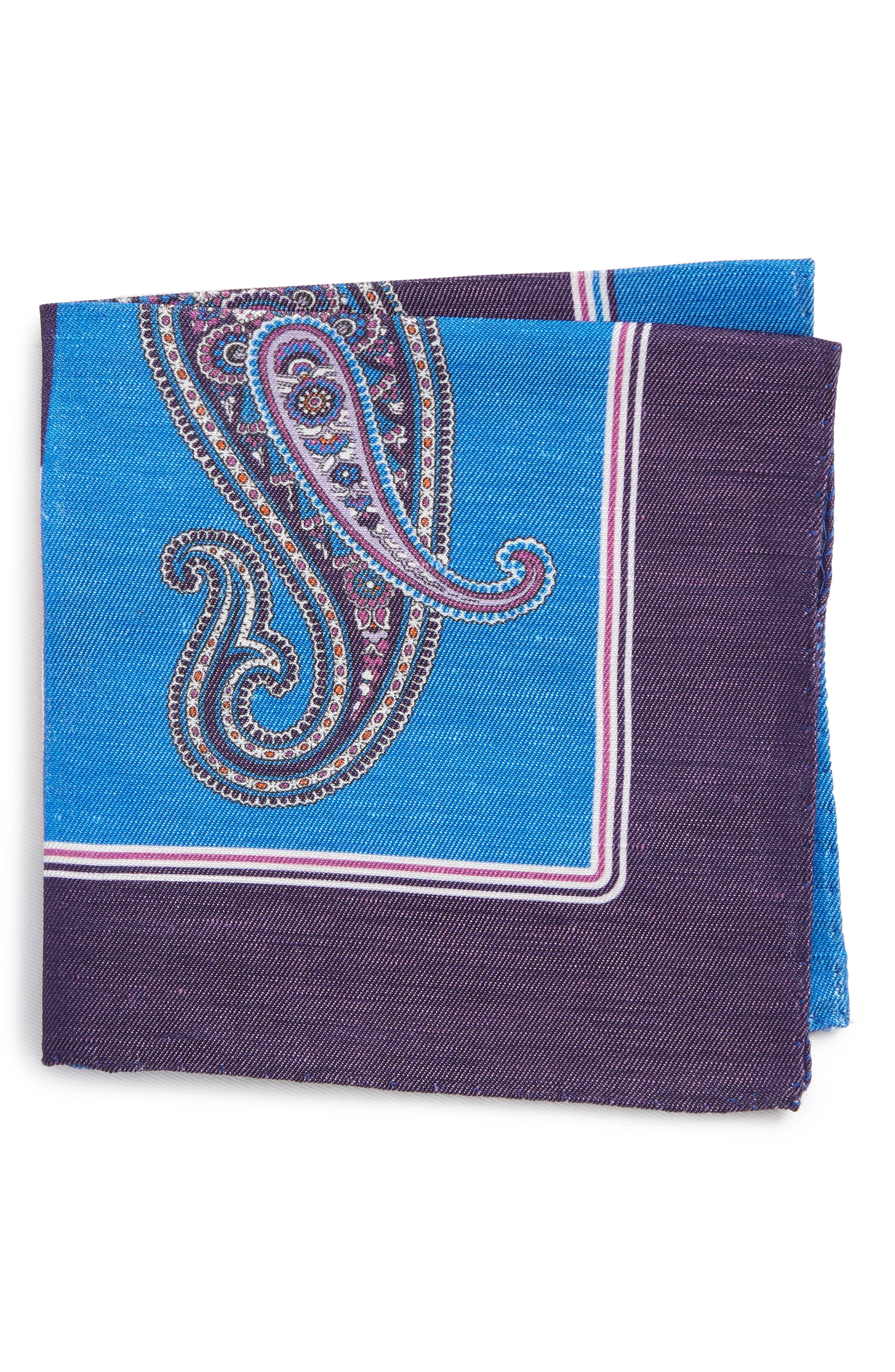 Paisley Linen & Silk Pocket Square,                             Main thumbnail 1, color,                             Blue