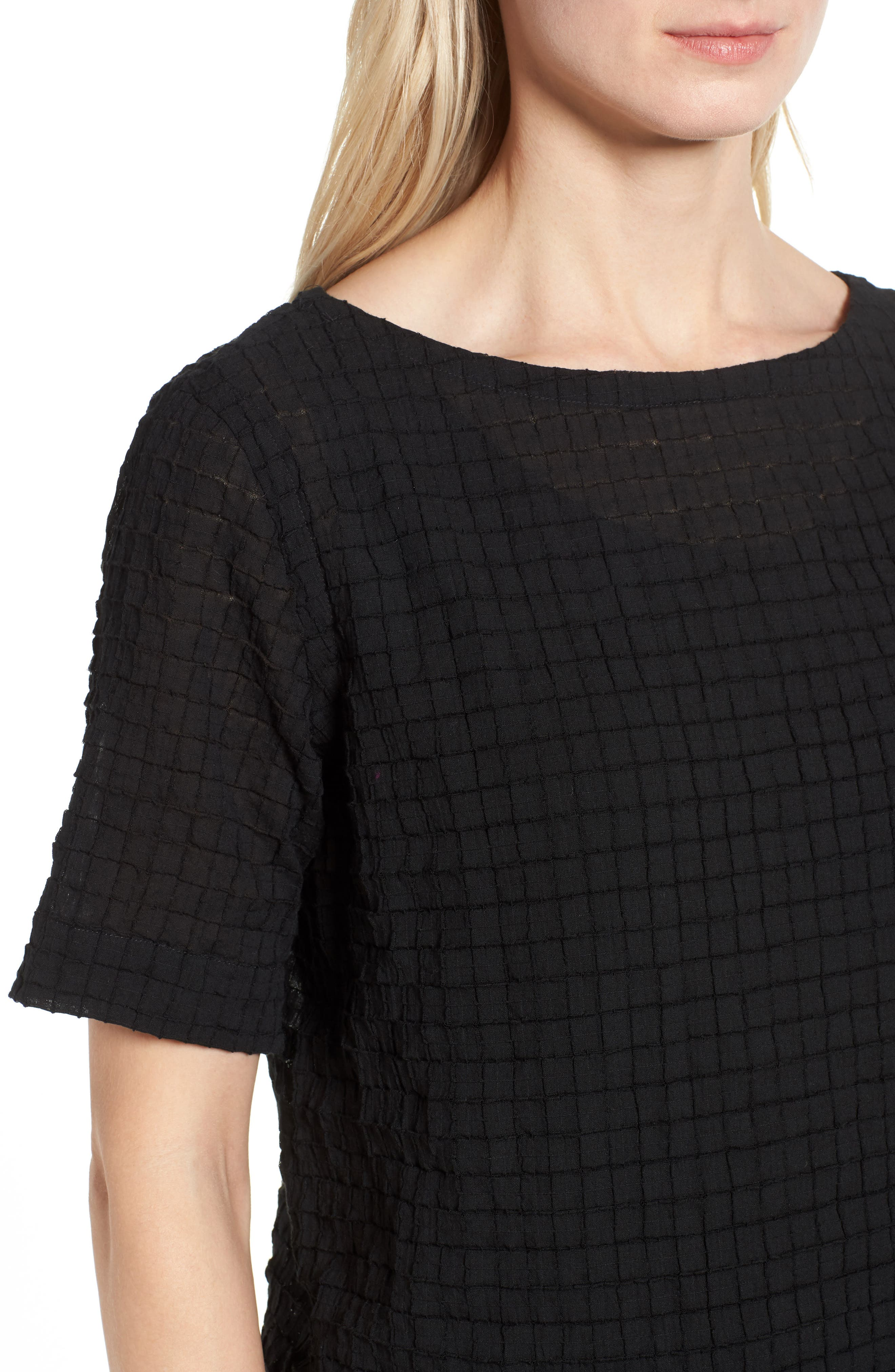 Stretch Organic Cotton Top,                             Alternate thumbnail 4, color,                             Black