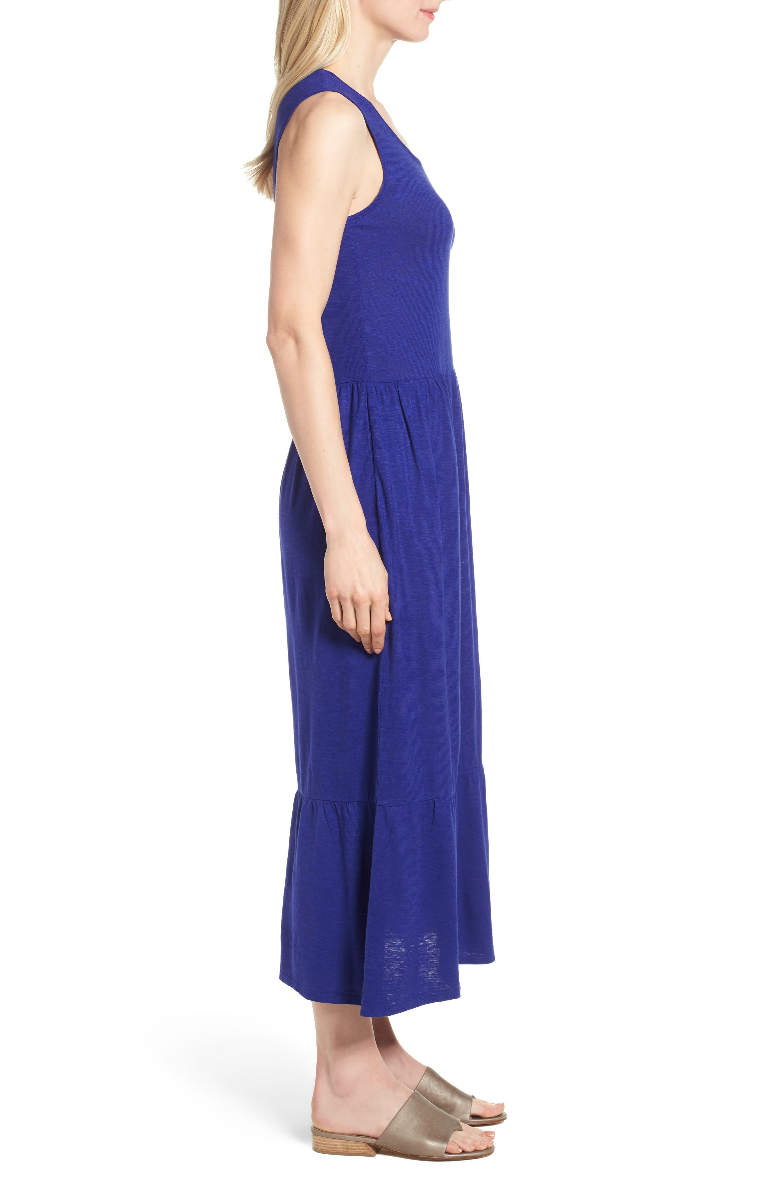 Scooped Neck Hemp & Cotton Midi Dress,                             Alternate thumbnail 3, color,                             Blue Violet