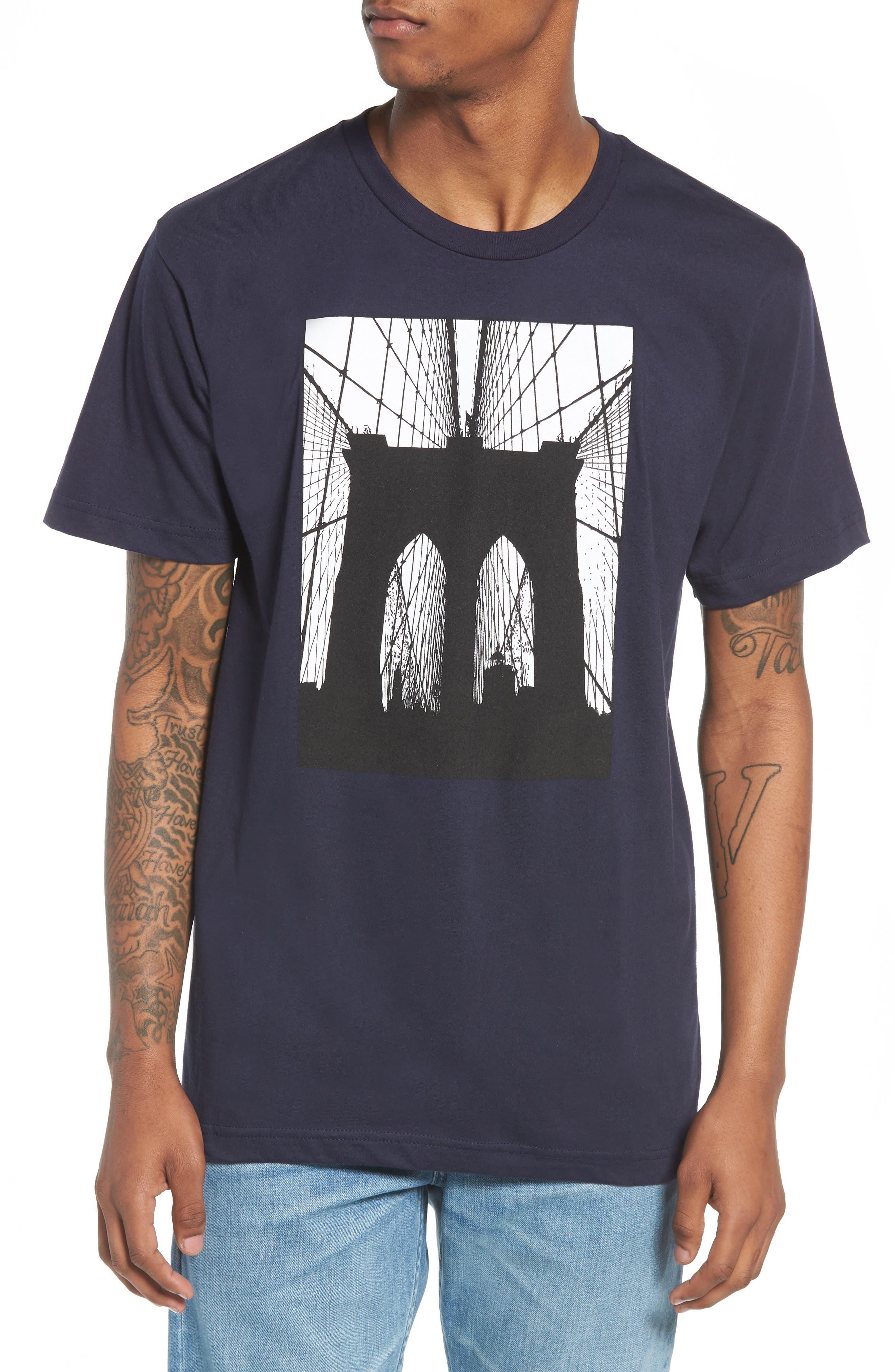 Brooklyn Bridge Graphic T-Shirt,                             Main thumbnail 1, color,                             Navy