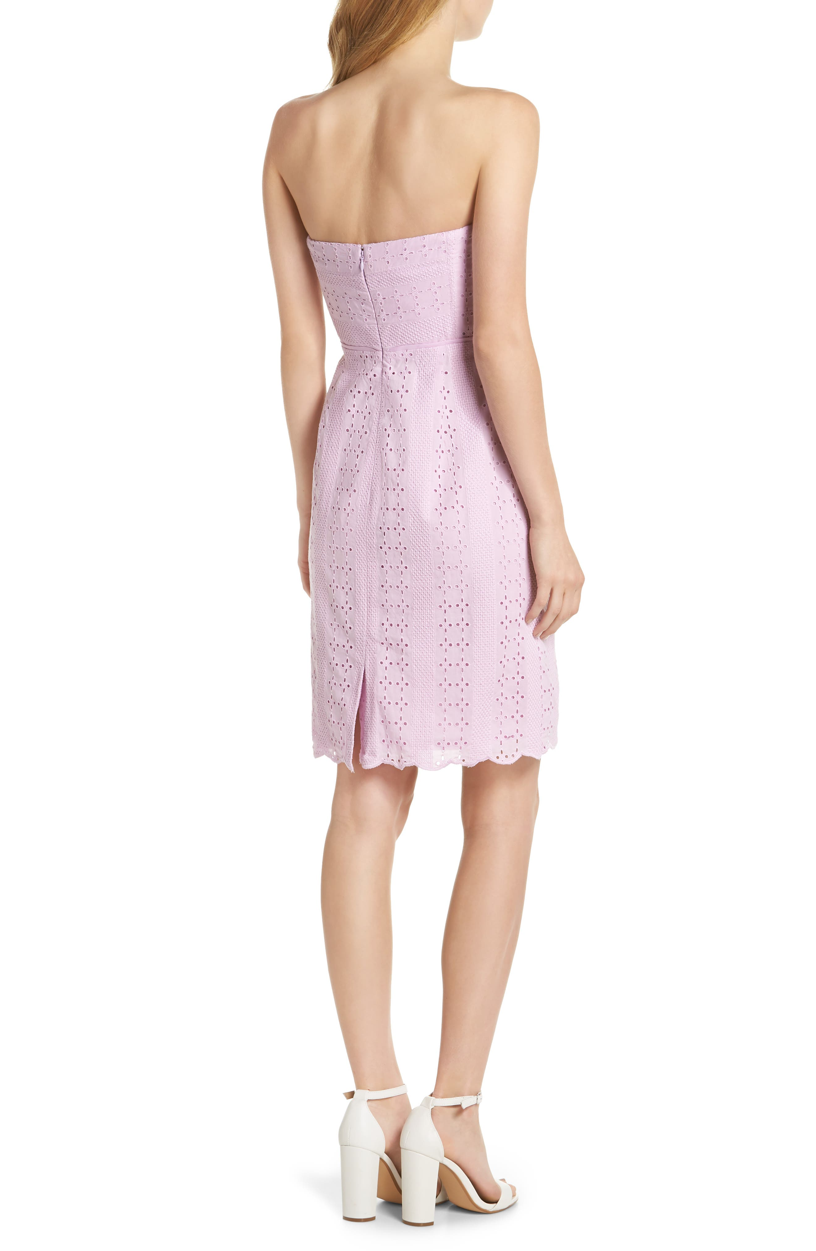 J.Crew Strapless Eyelet Sheath Dress,                             Alternate thumbnail 2, color,                             Lavender Mist