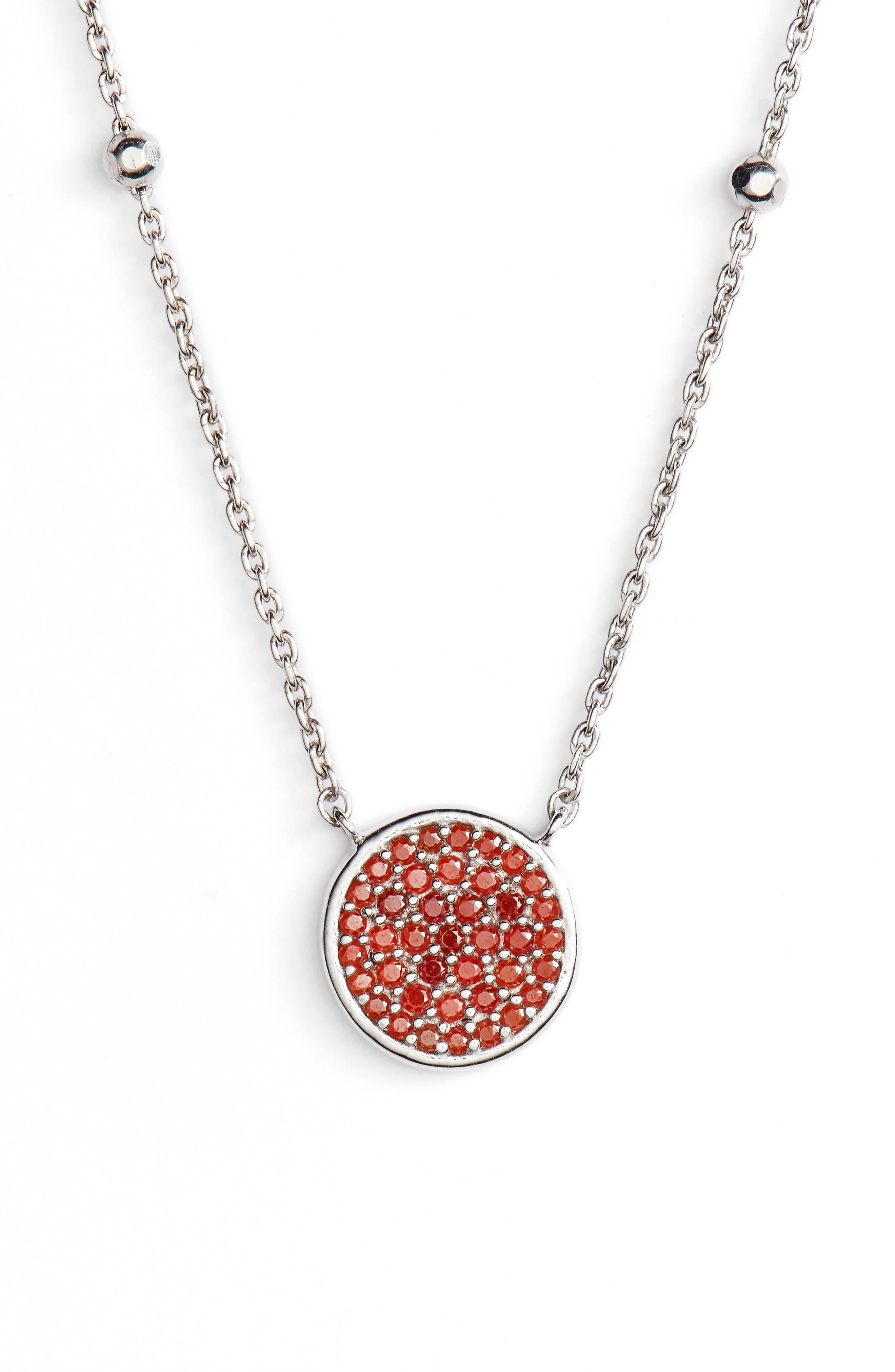 Round Pavé Pendant Necklace,                         Main,                         color, Silver/ Coral