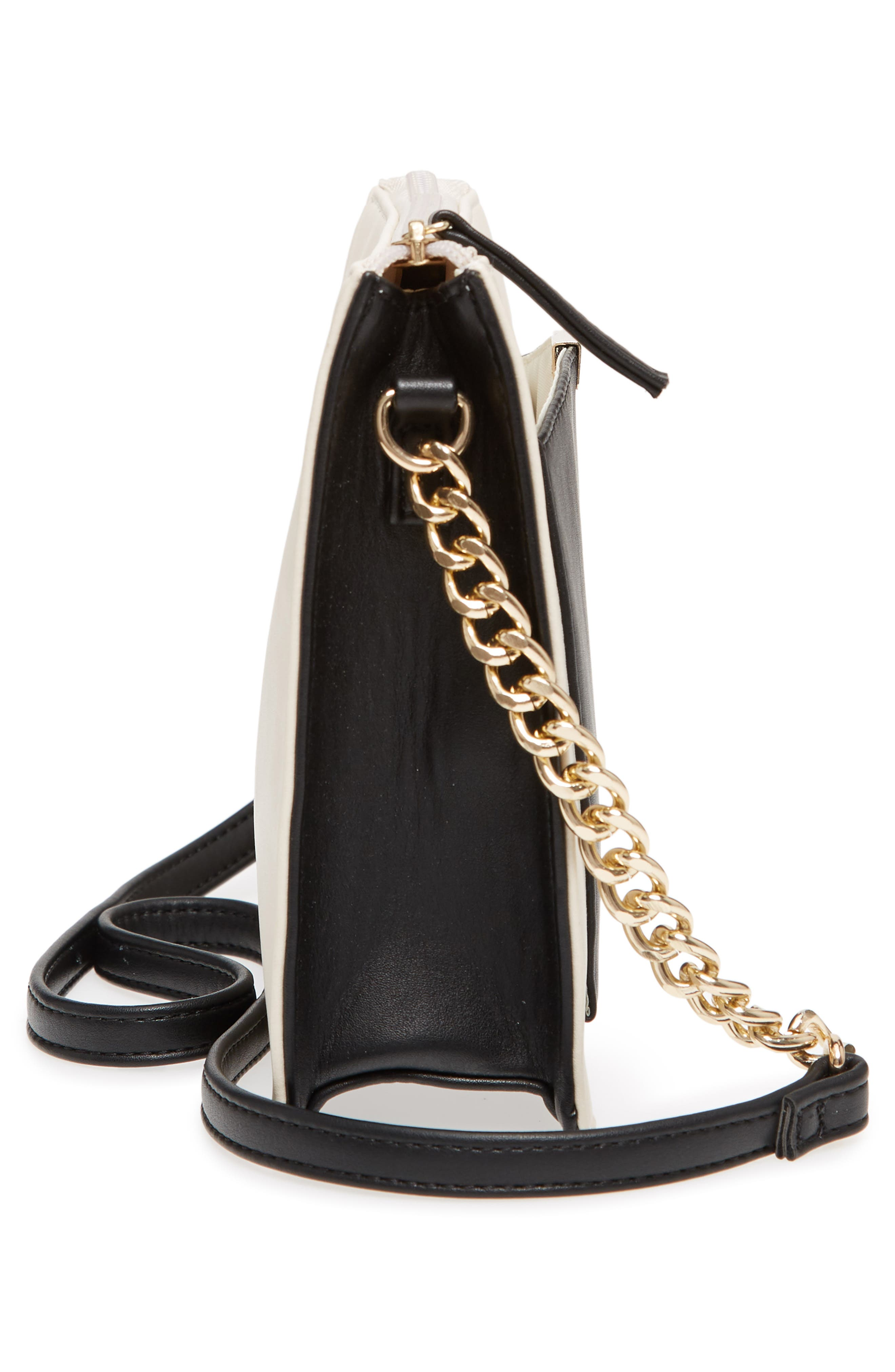 Colorblock Faux Leather Crossbody Bag,                             Alternate thumbnail 5, color,                             Ivory/ Black