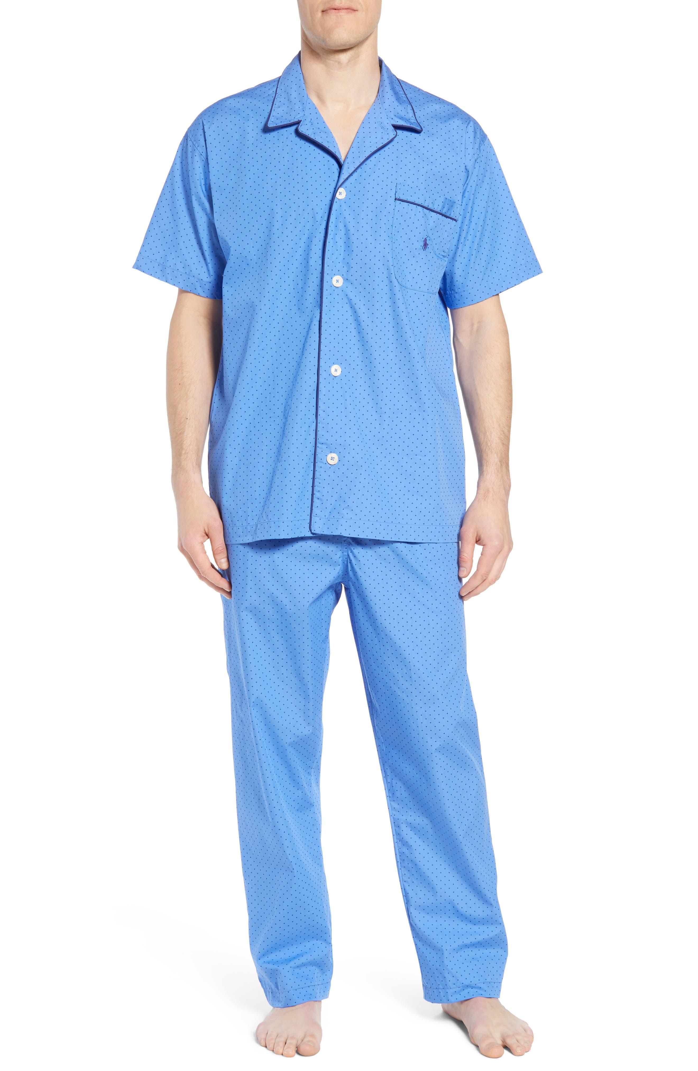Dot Cotton Pajama Shirt,                             Alternate thumbnail 6, color,                             Harbour Island Blue/ Navy