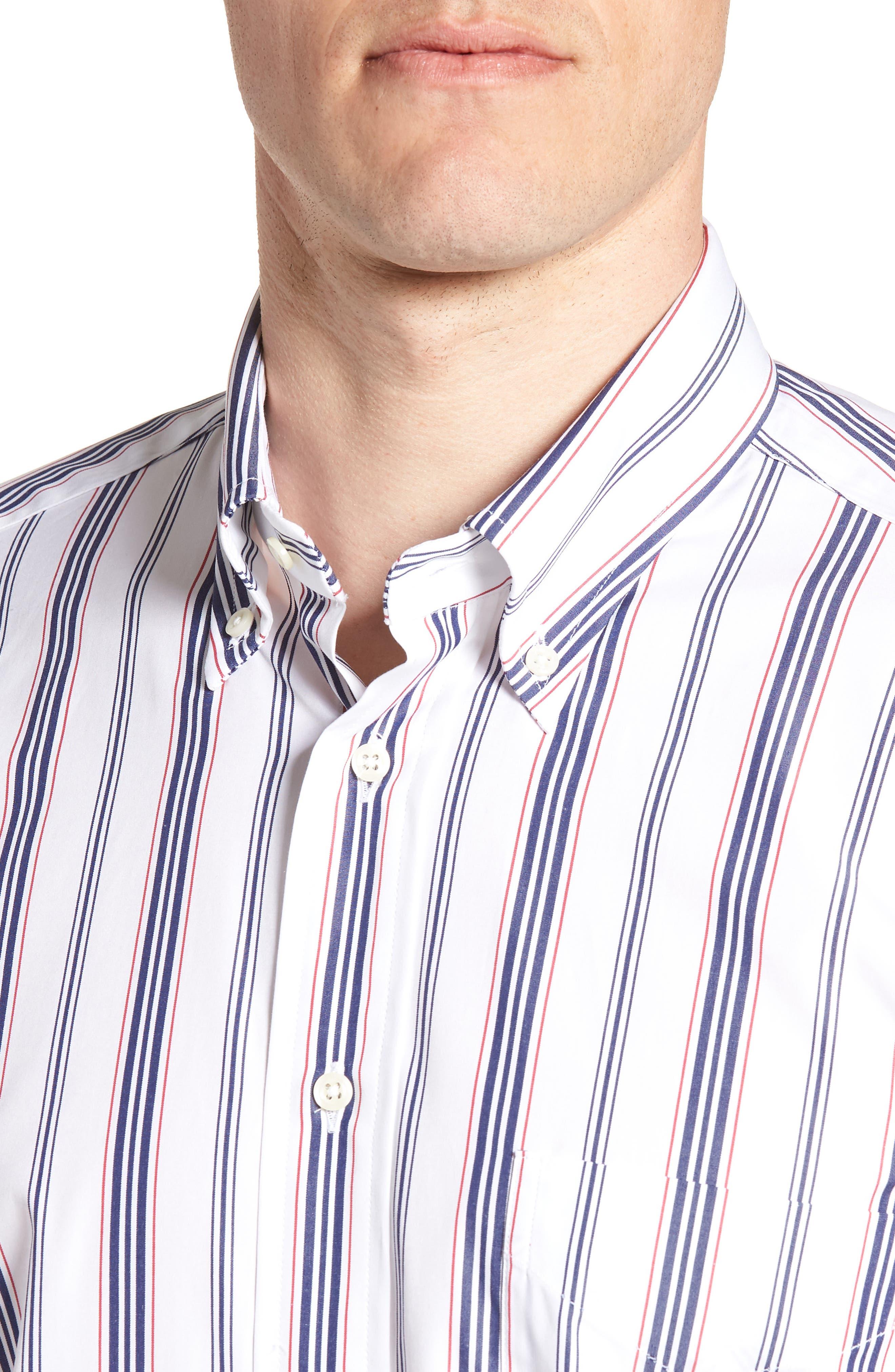 Tailored Fit Stripe Dress Shirt,                             Alternate thumbnail 2, color,                             White/ Blue