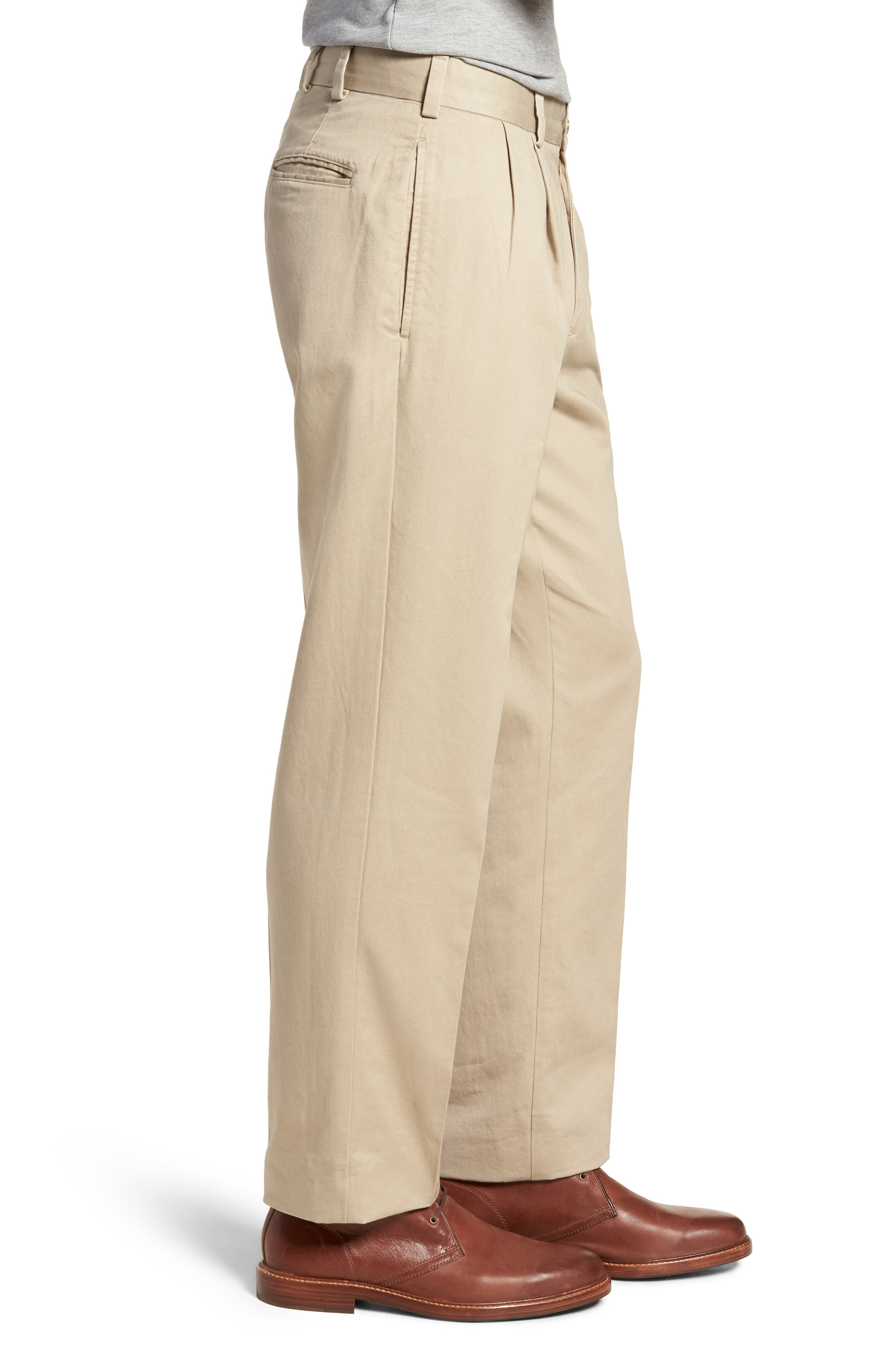 M2 Classic Fit Pleated Vintage Twill Pants,                             Alternate thumbnail 3, color,                             Khaki