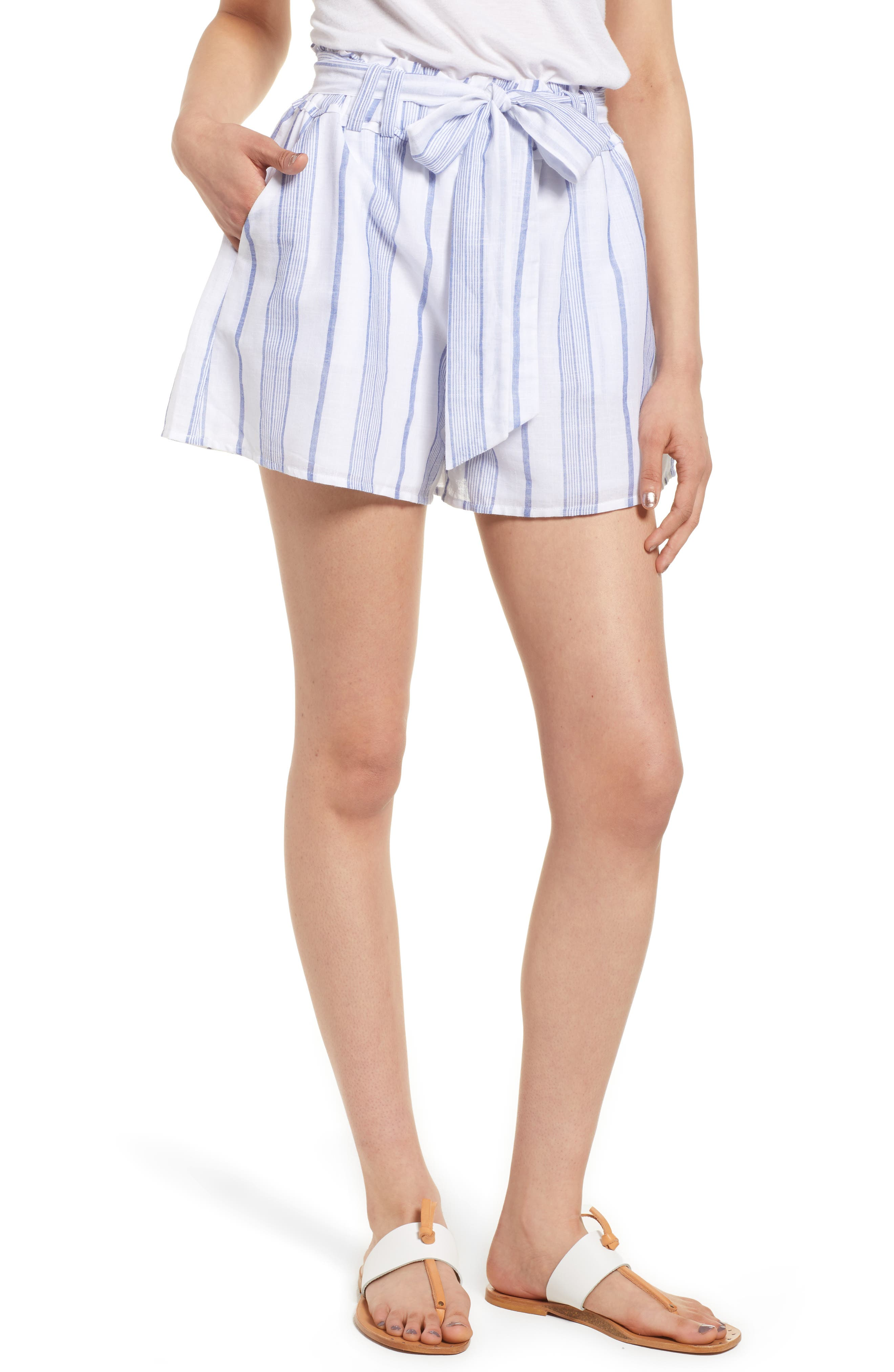 Stripe Tie Waist Shorts,                             Main thumbnail 1, color,                             Sky Stripe