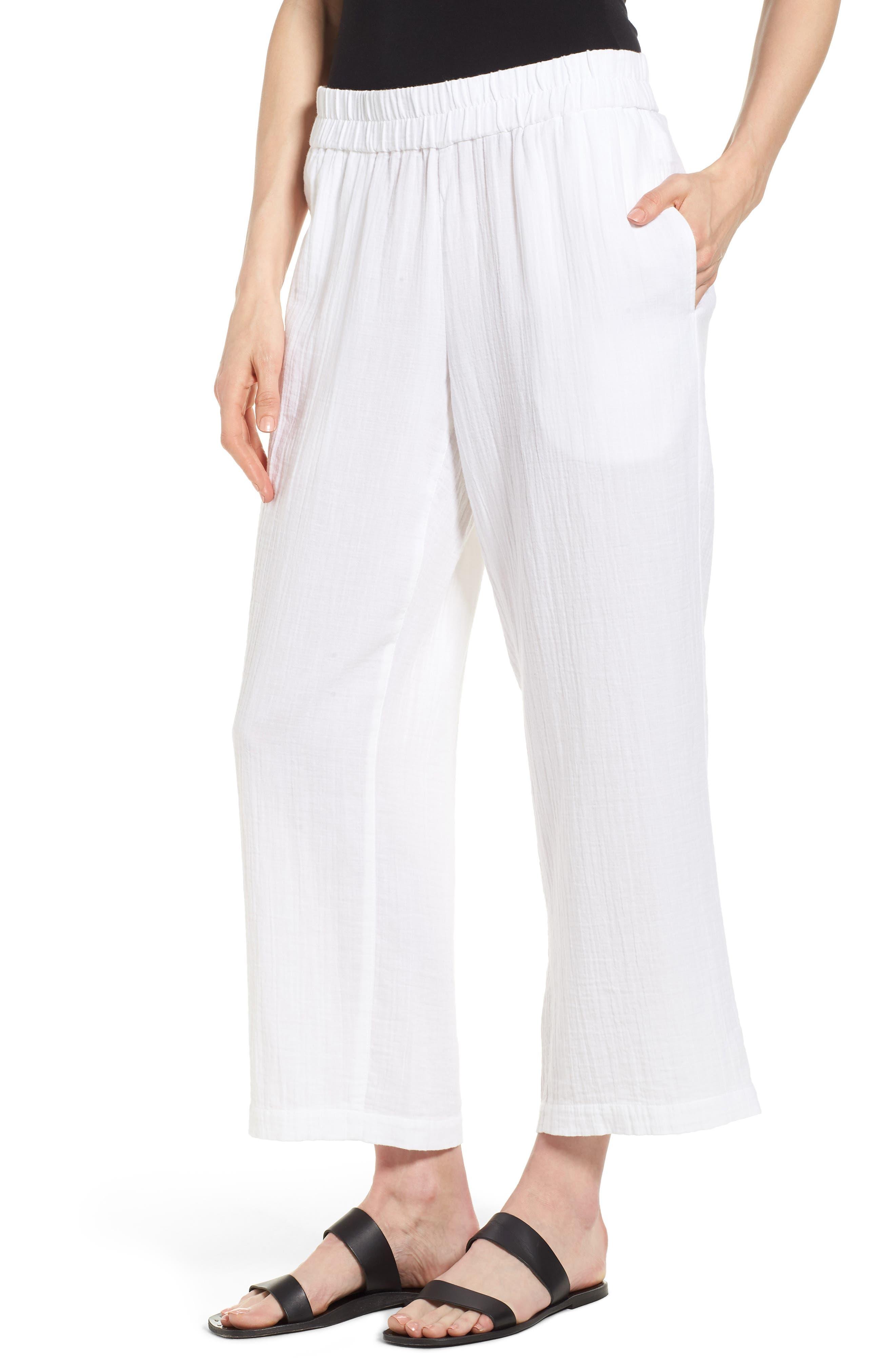 Straight Leg Organic Cotton Pants,                             Main thumbnail 1, color,                             White