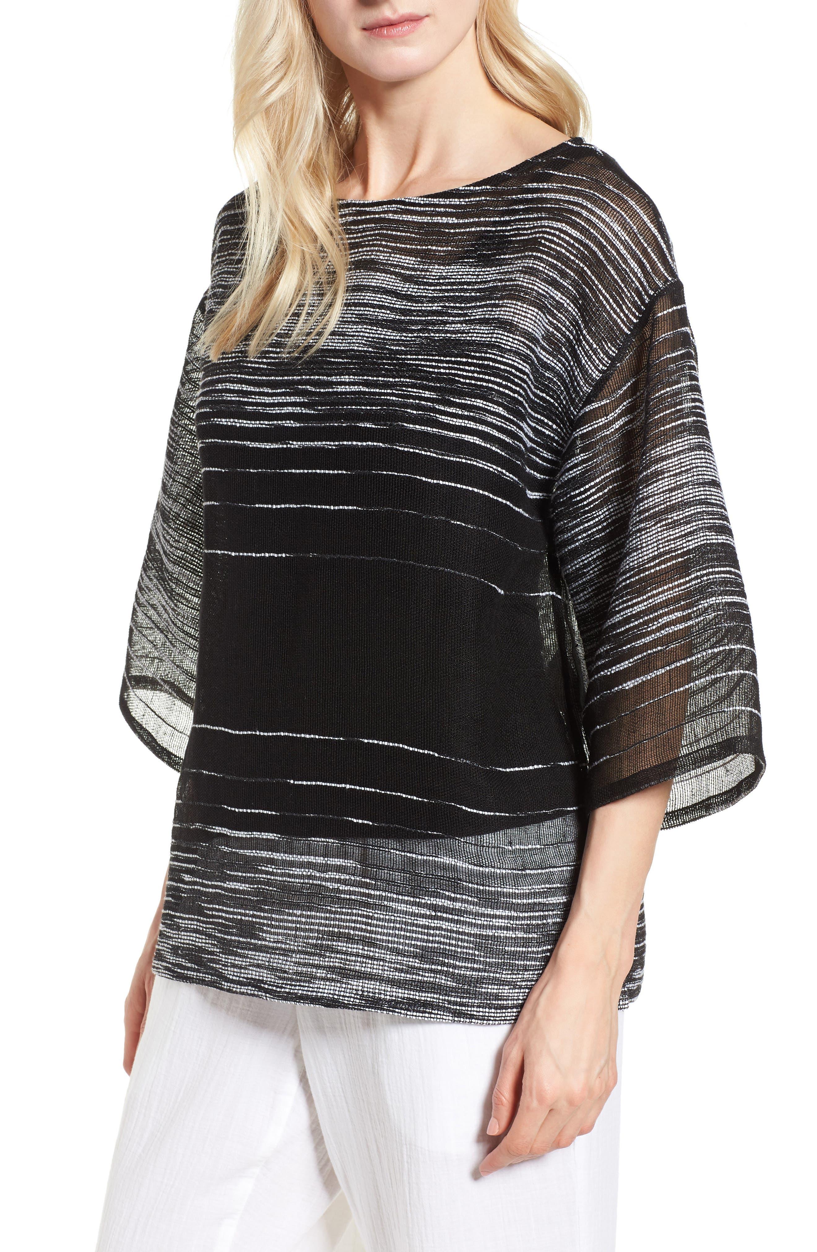 Organic Linen Blend Top,                         Main,                         color, Black