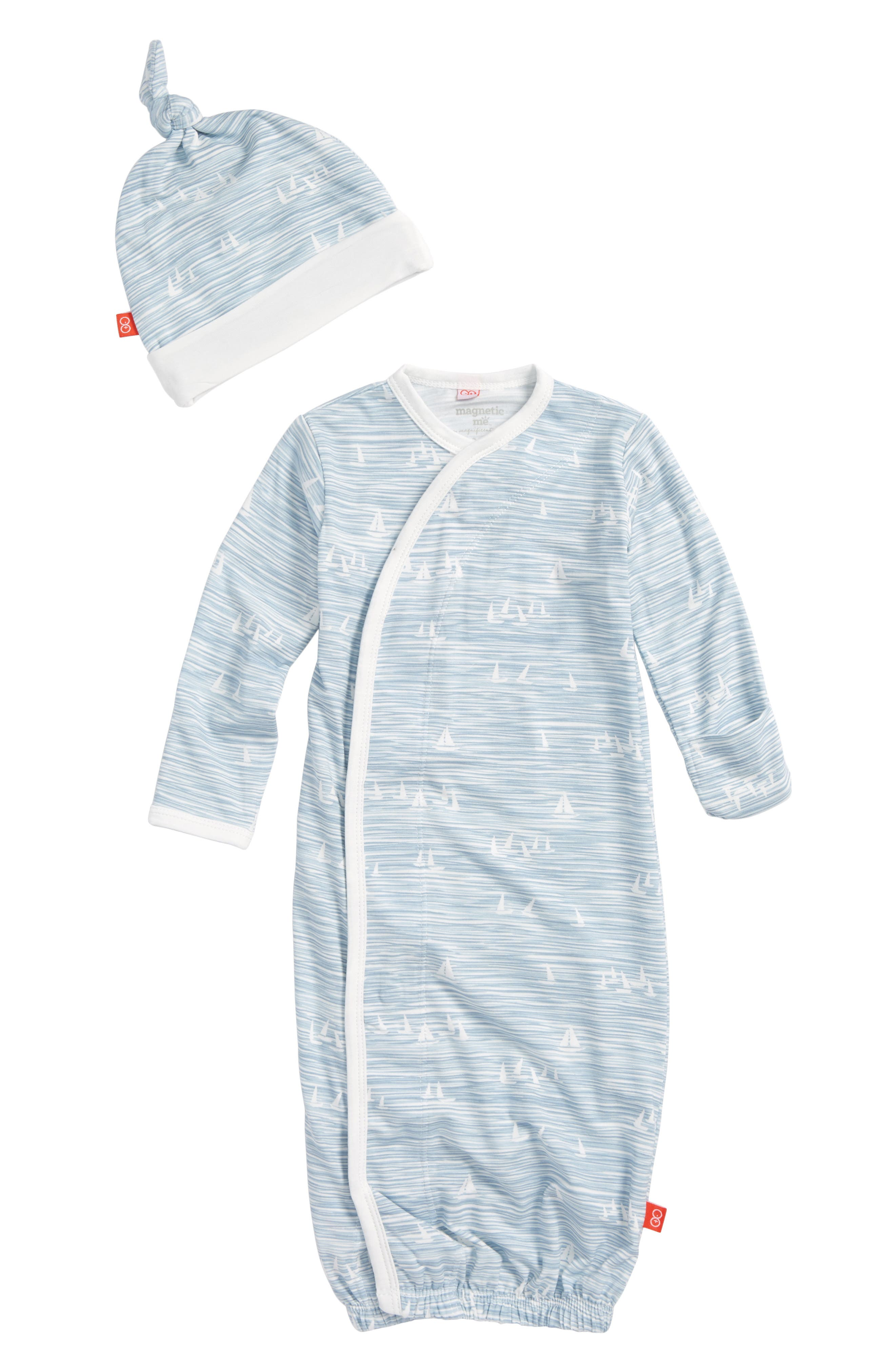 Main Image - Magnetic Me Seeing Sailboats Gown & Hat Set (Baby Boys)