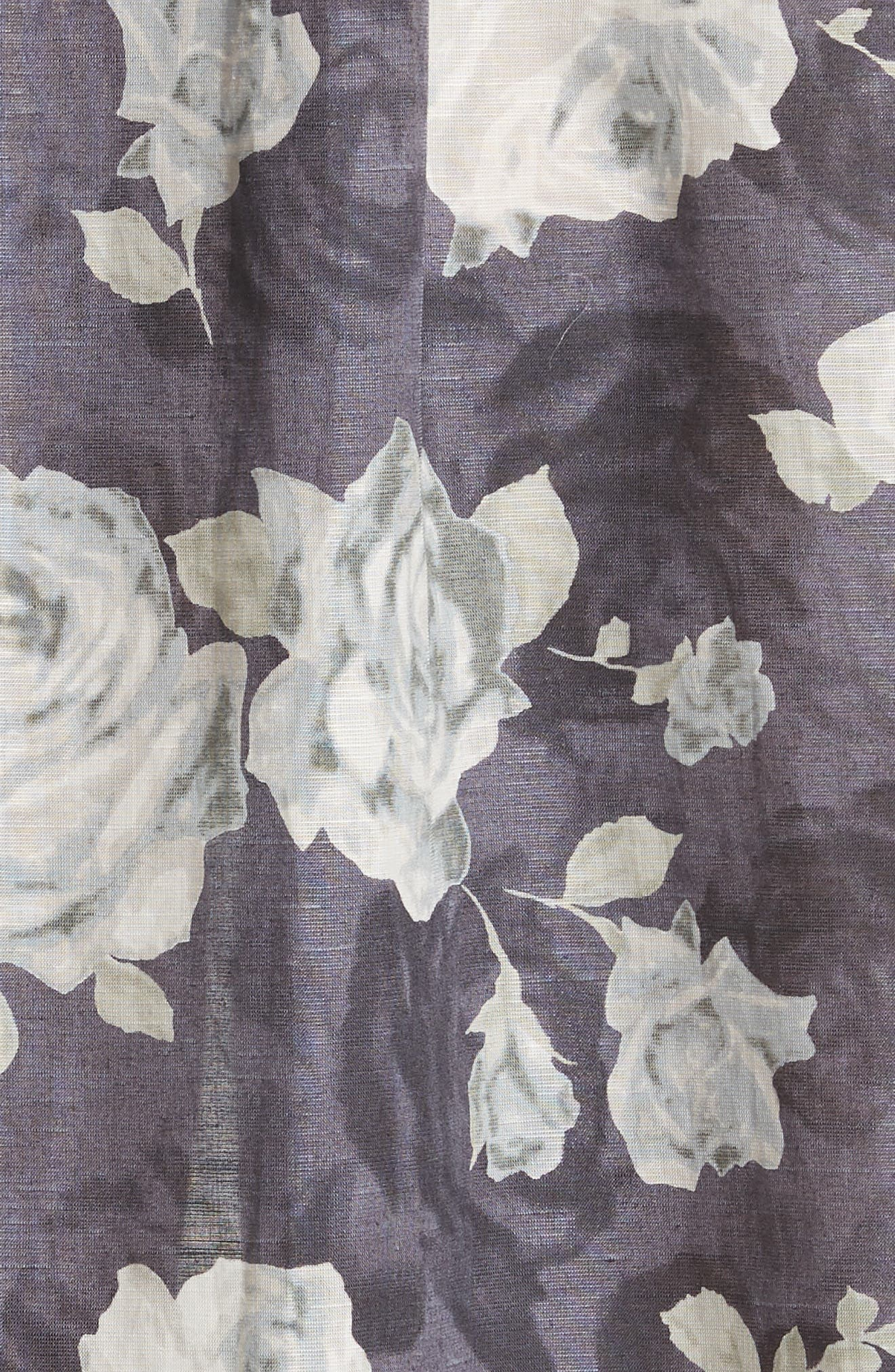 Rose Print Dress,                             Alternate thumbnail 6, color,                             Charcoal X Black