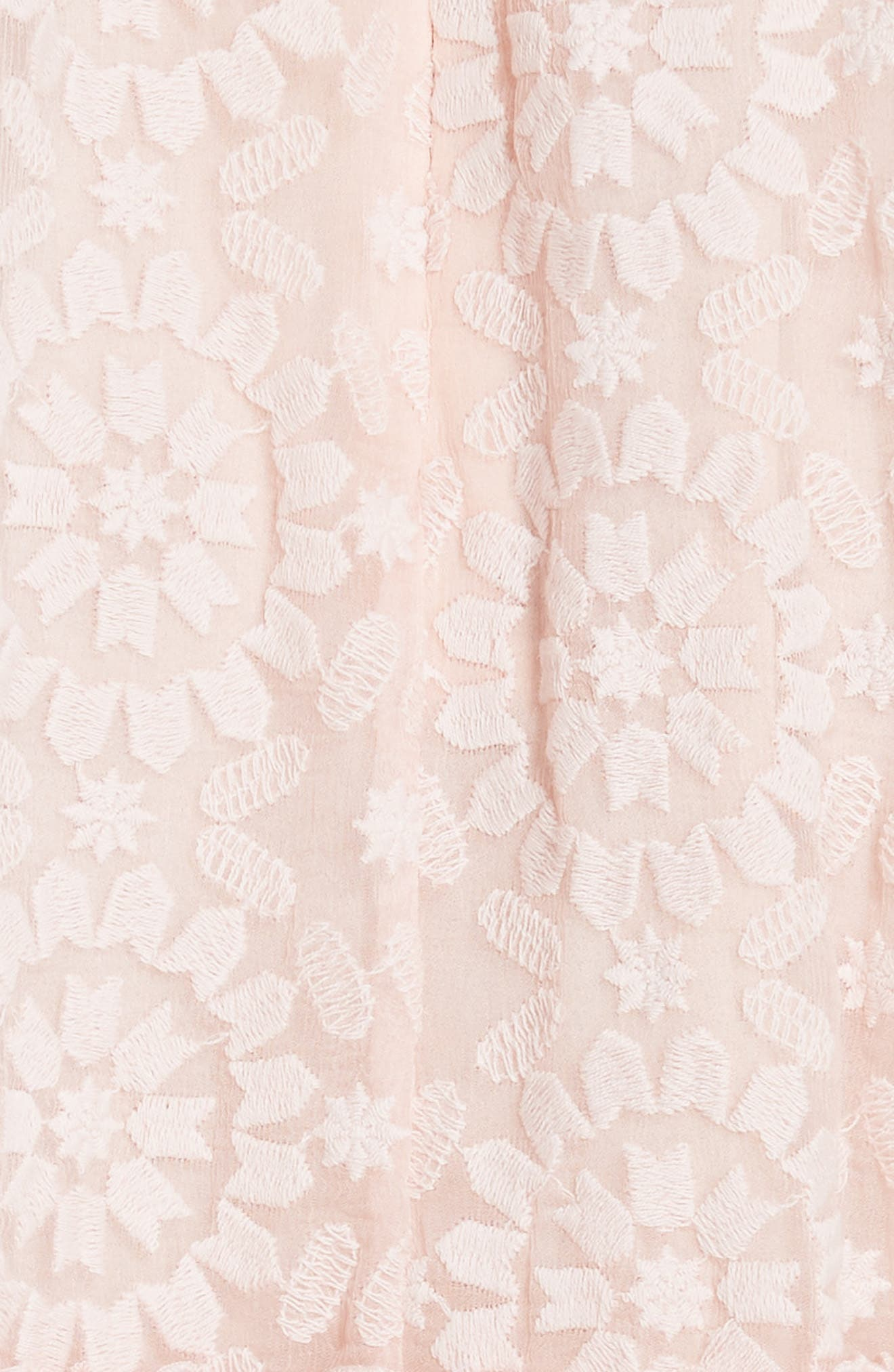 embroidered cotton & silk chiffon dress,                             Alternate thumbnail 3, color,                             Pearl  Pink