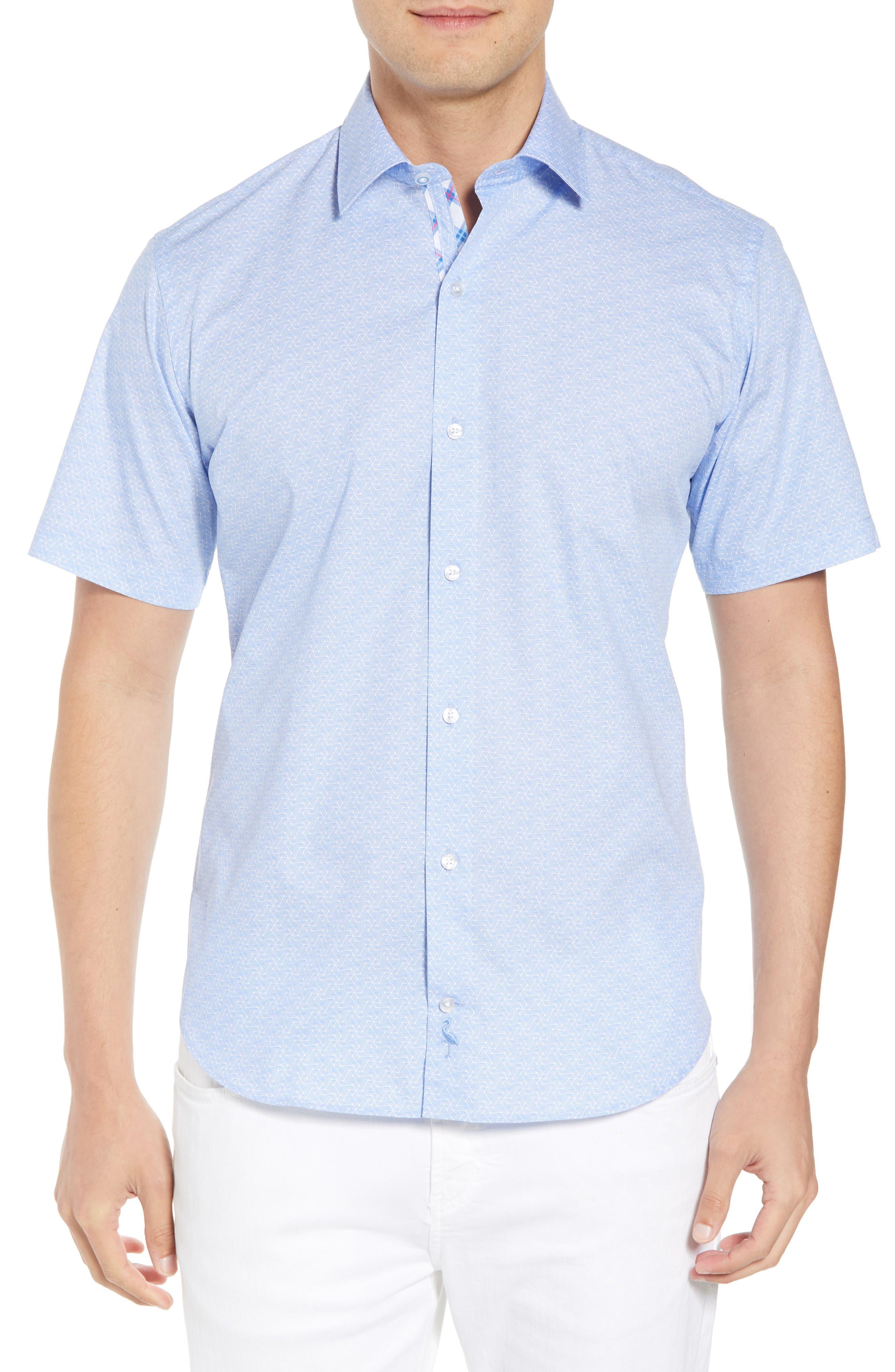 Acton Regular Fit Geo Print Sport Shirt,                         Main,                         color, Light Blue