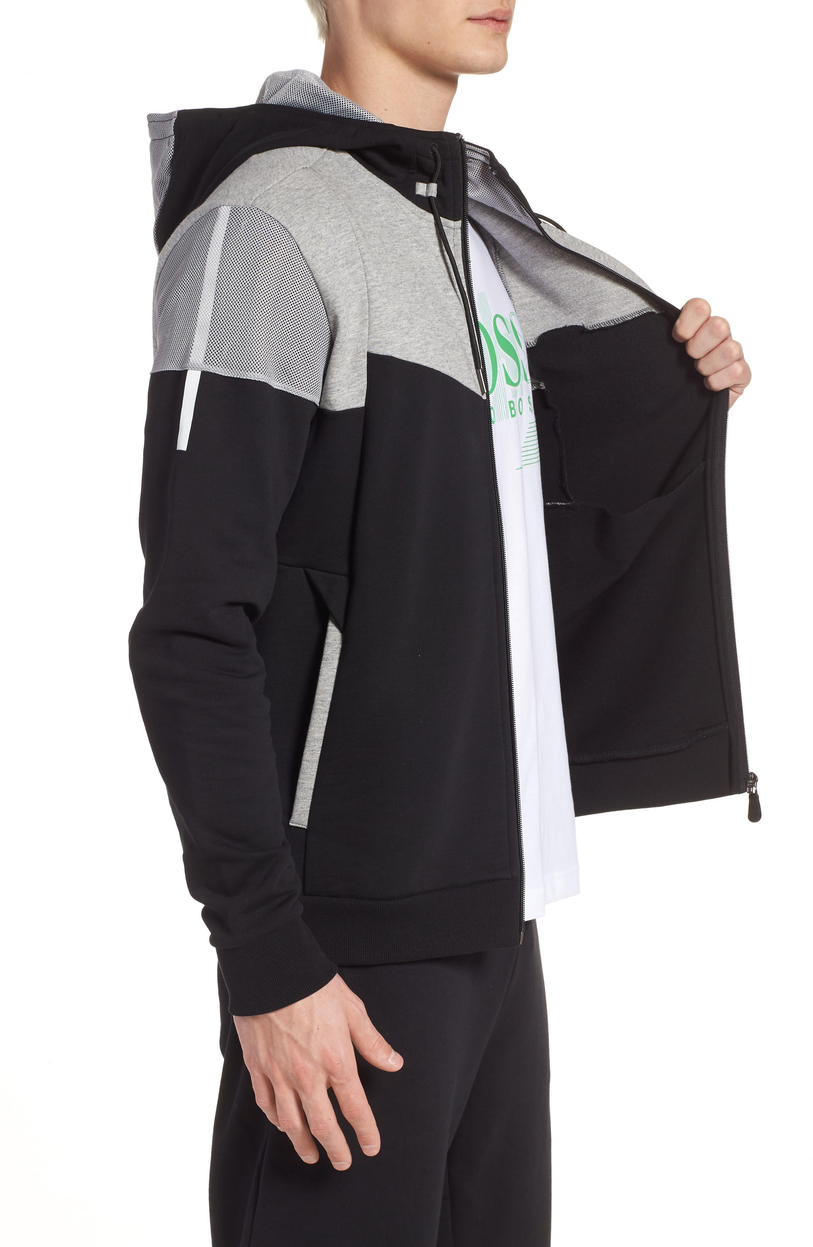 Regular Fit Hooded Fleece Jacket,                             Alternate thumbnail 3, color,                             Black