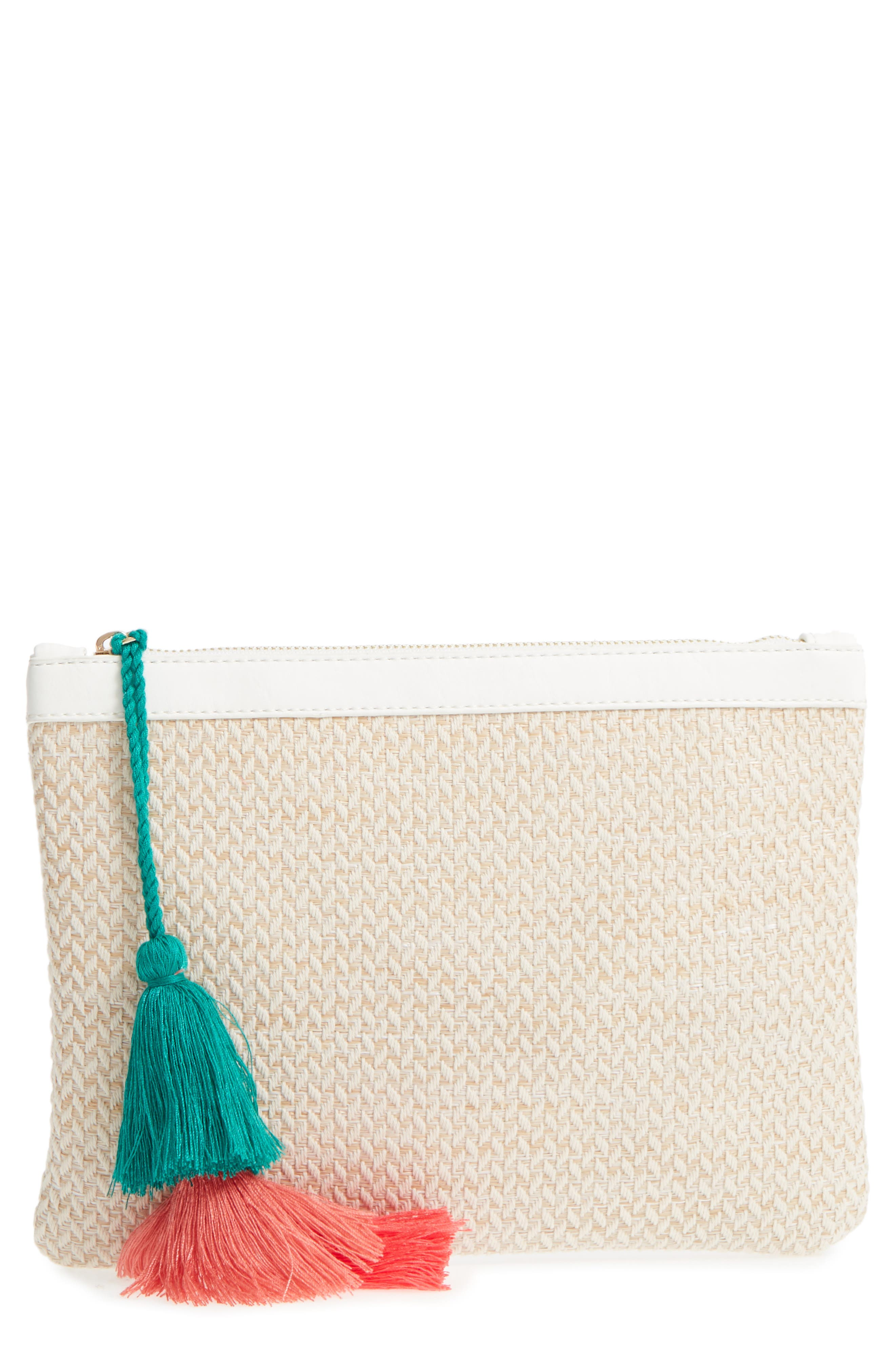 Tasseled Fabric Zip Pouch,                             Main thumbnail 1, color,                             White/ Natural