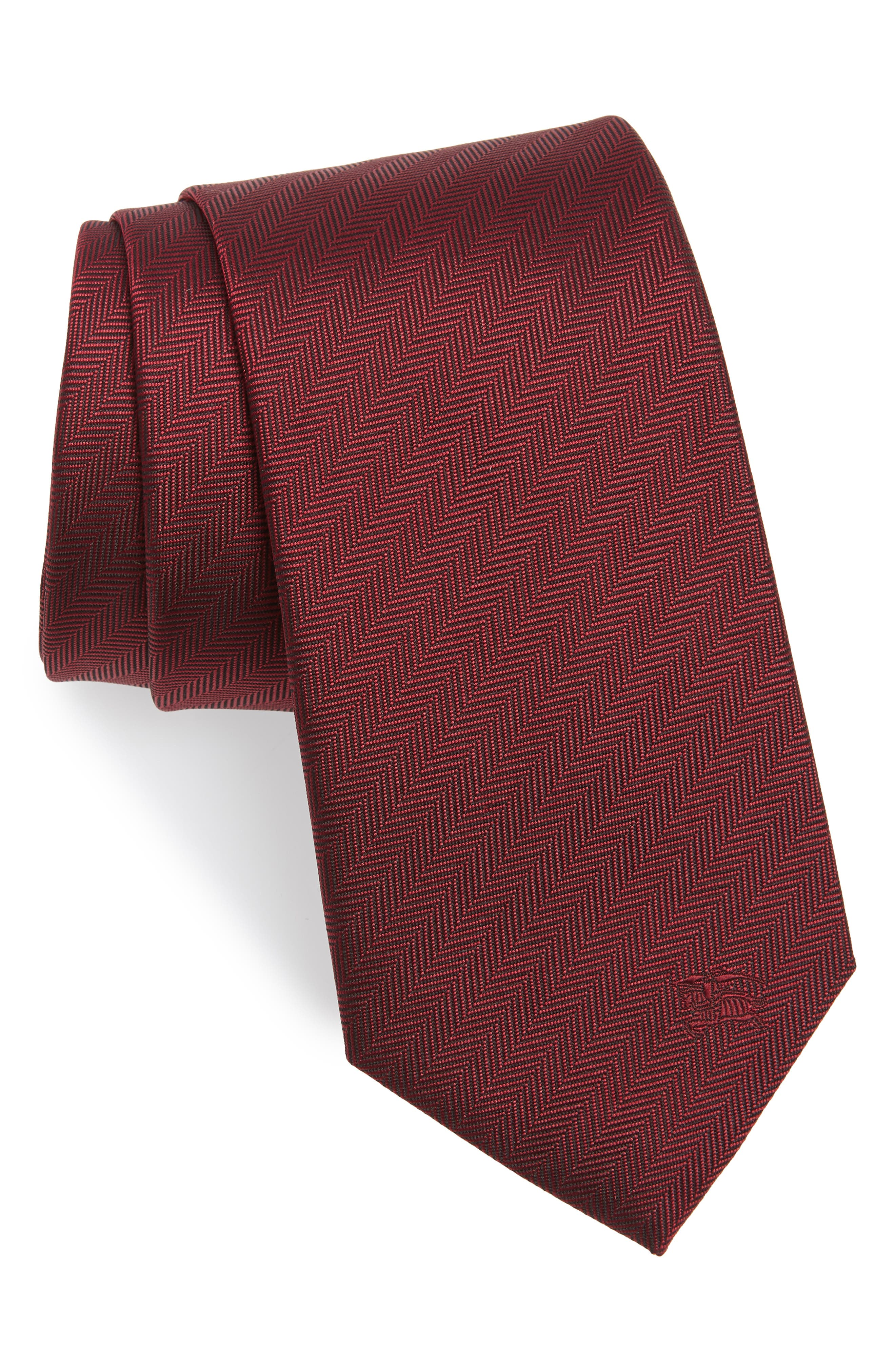 Herringbone Silk Tie,                         Main,                         color, Parade Red