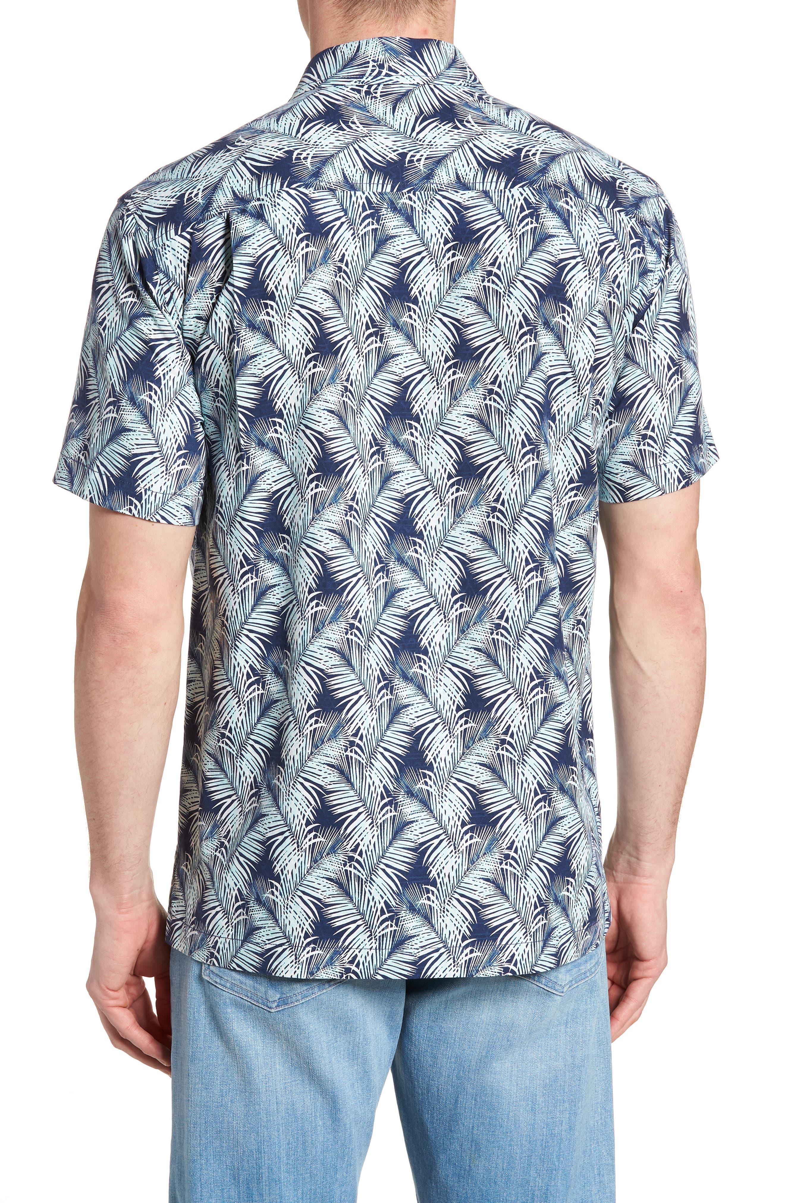 Palms of Tulum Silk Camp Shirt,                             Alternate thumbnail 3, color,                             Ocean Deep