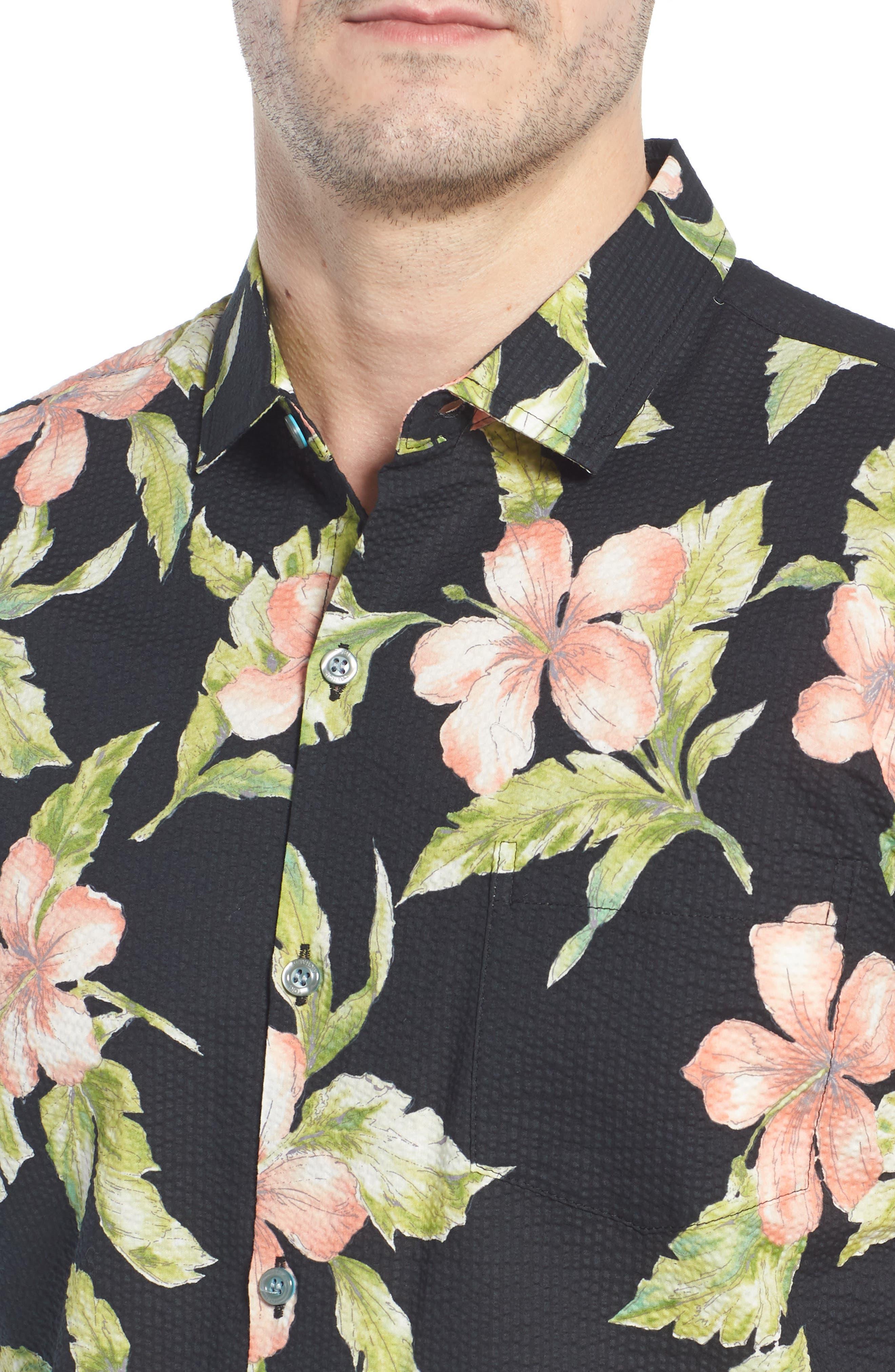 Bahia Trim Fit Camp Shirt,                             Alternate thumbnail 2, color,                             Black