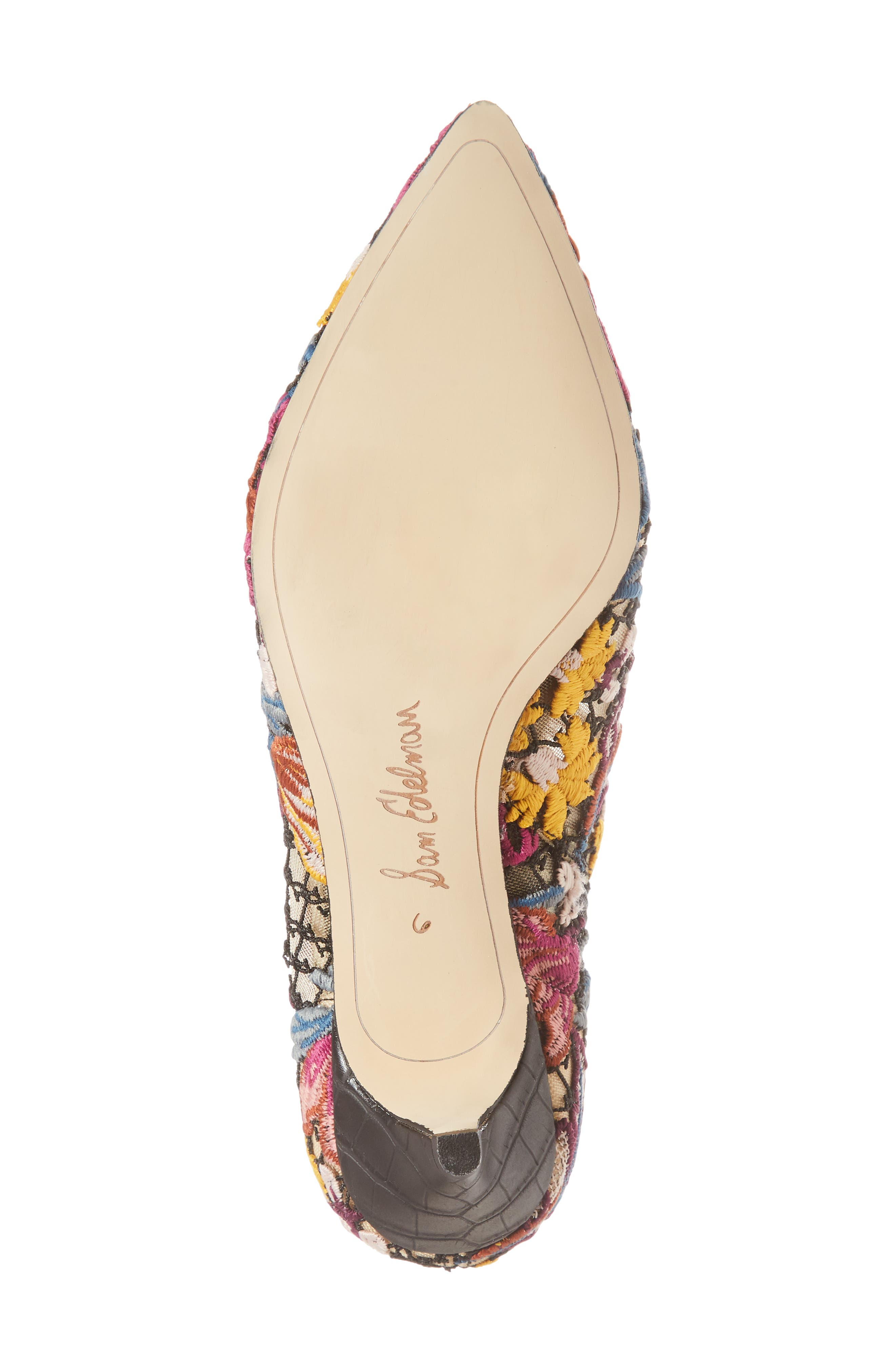 Kinzey Pointy Toe Bootie,                             Alternate thumbnail 6, color,                             Bright Multi Floral Lace