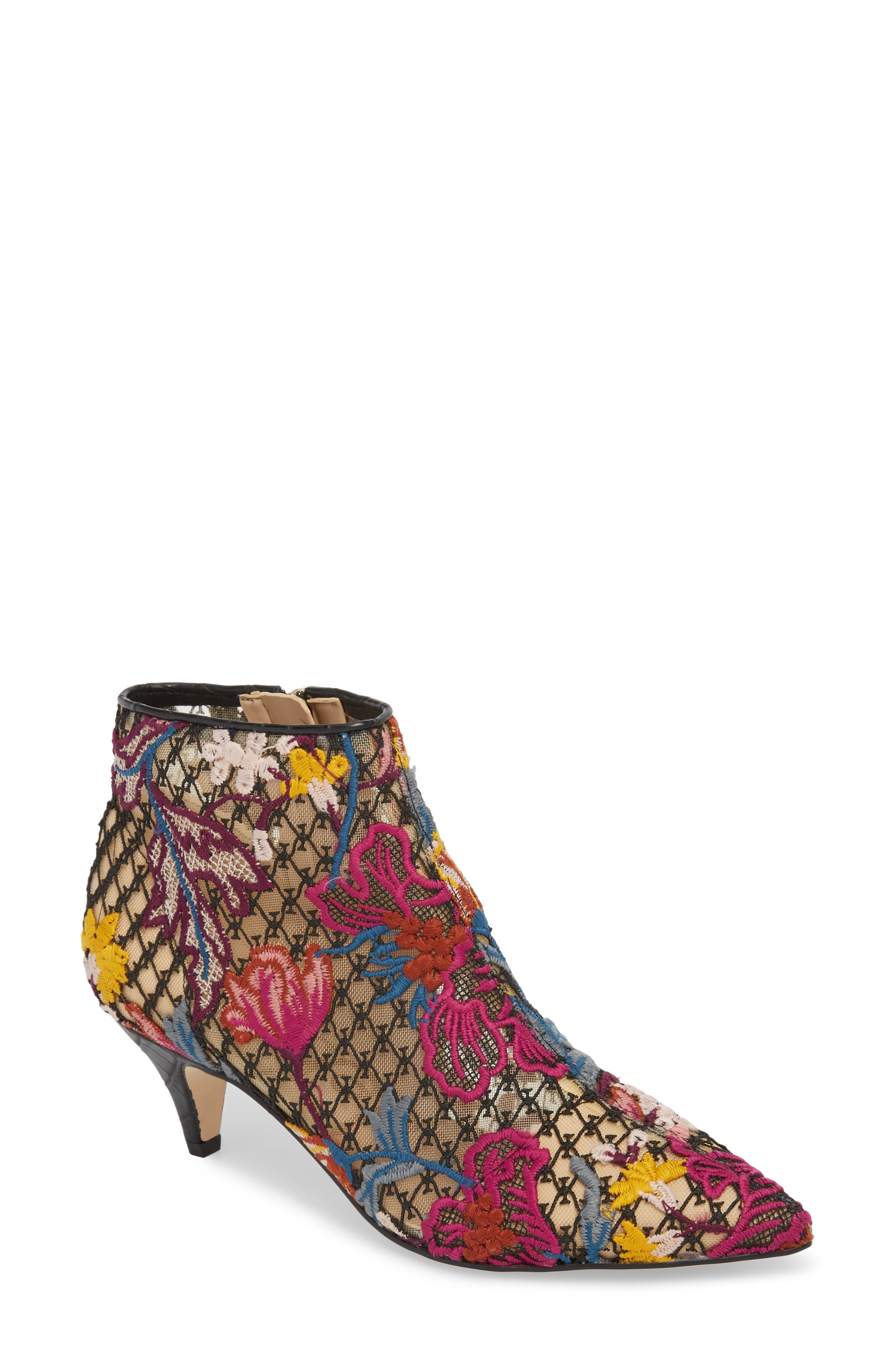 Kinzey Pointy Toe Bootie,                             Main thumbnail 1, color,                             Bright Multi Floral Lace