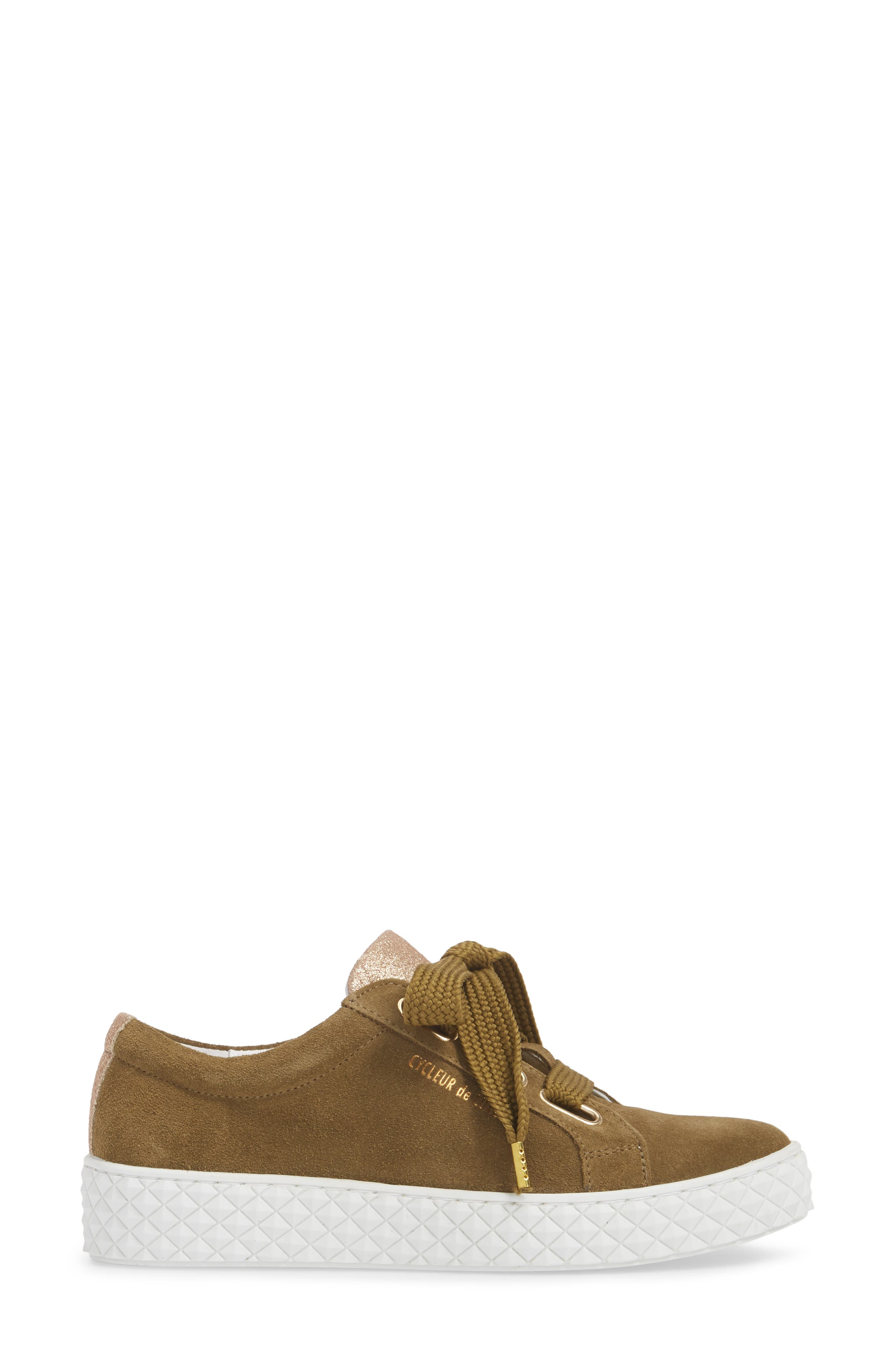 Acton III Sneaker,                             Alternate thumbnail 3, color,                             Military Green/ Gold Suede