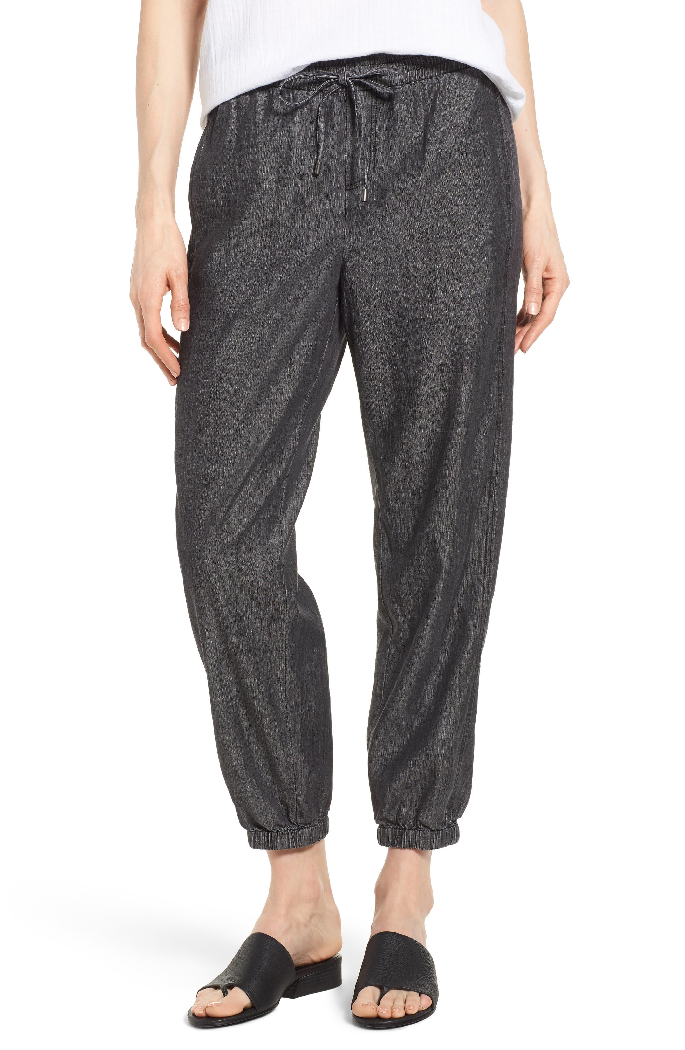 Drawstring Waist Chambray Pants,                         Main,                         color, Black