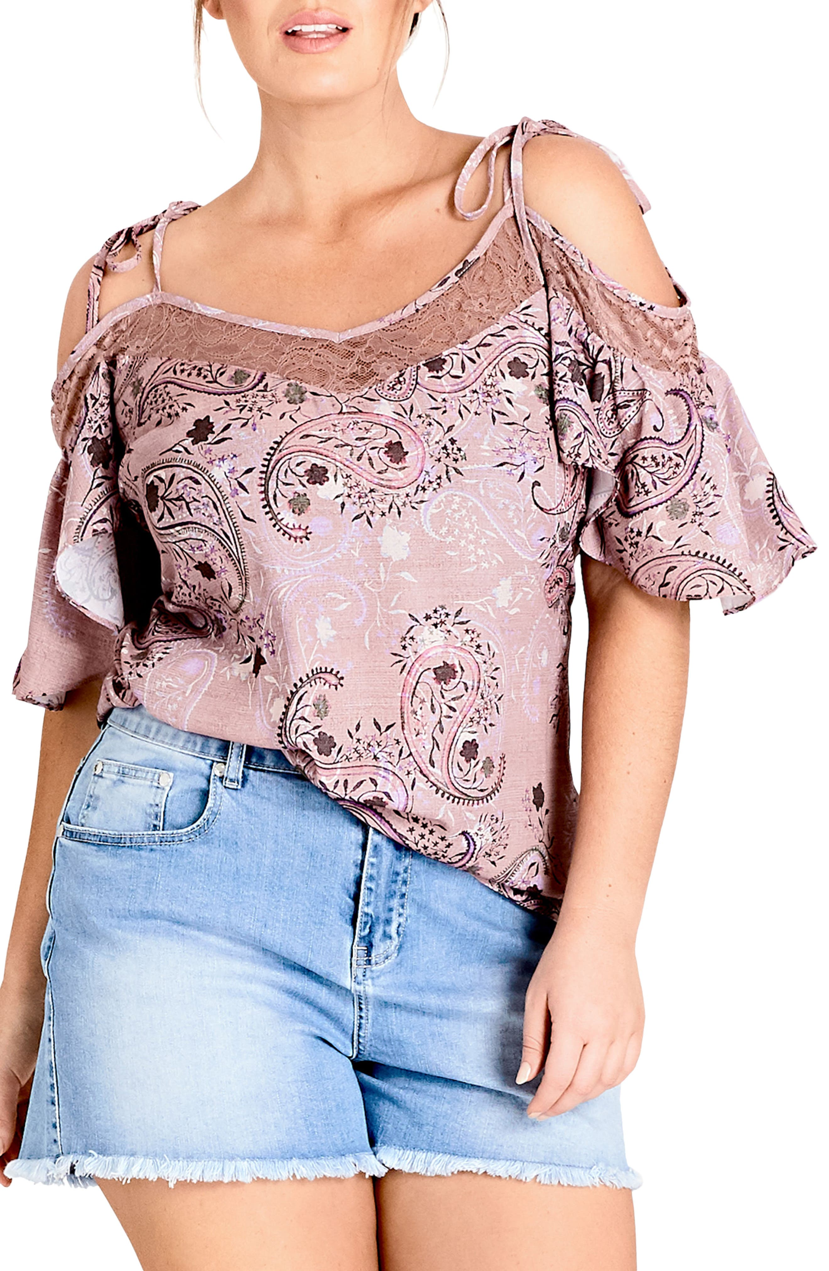 Paisley Cold Shoulder Top,                         Main,                         color, Luxe Paisley