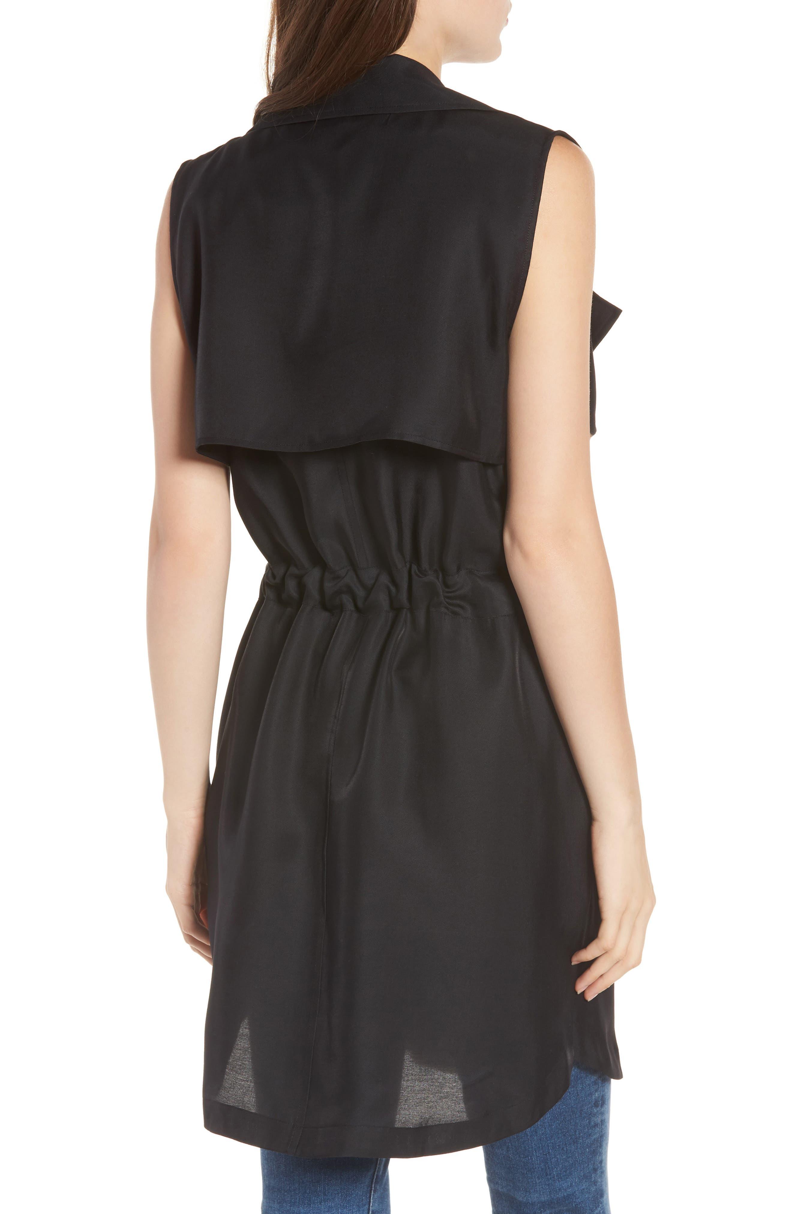 Belted Sleeveless Jacket,                             Alternate thumbnail 2, color,                             Black