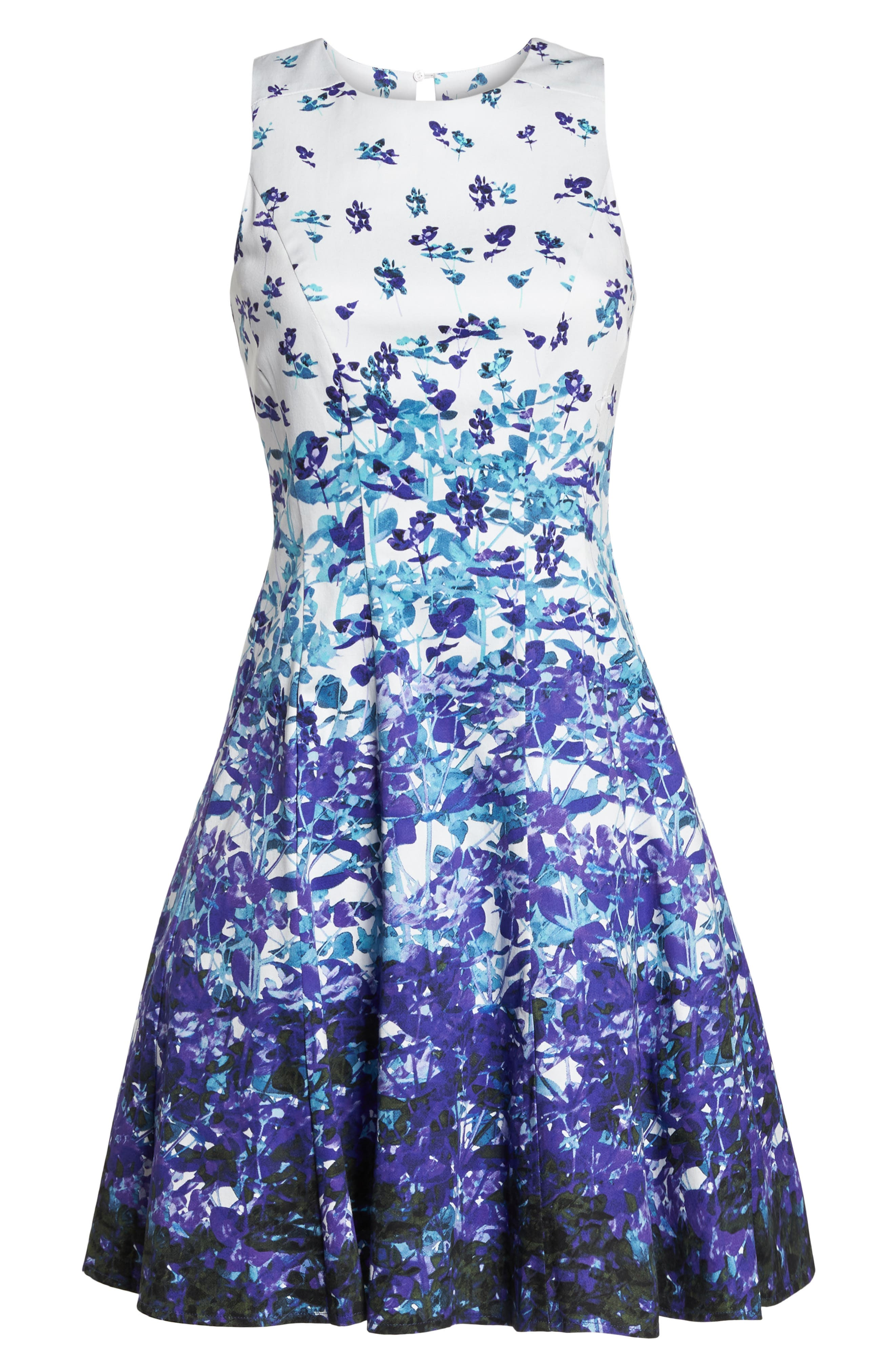Floral Sateen Fit & Flare Dress,                             Alternate thumbnail 7, color,                             Soft White/ Purple