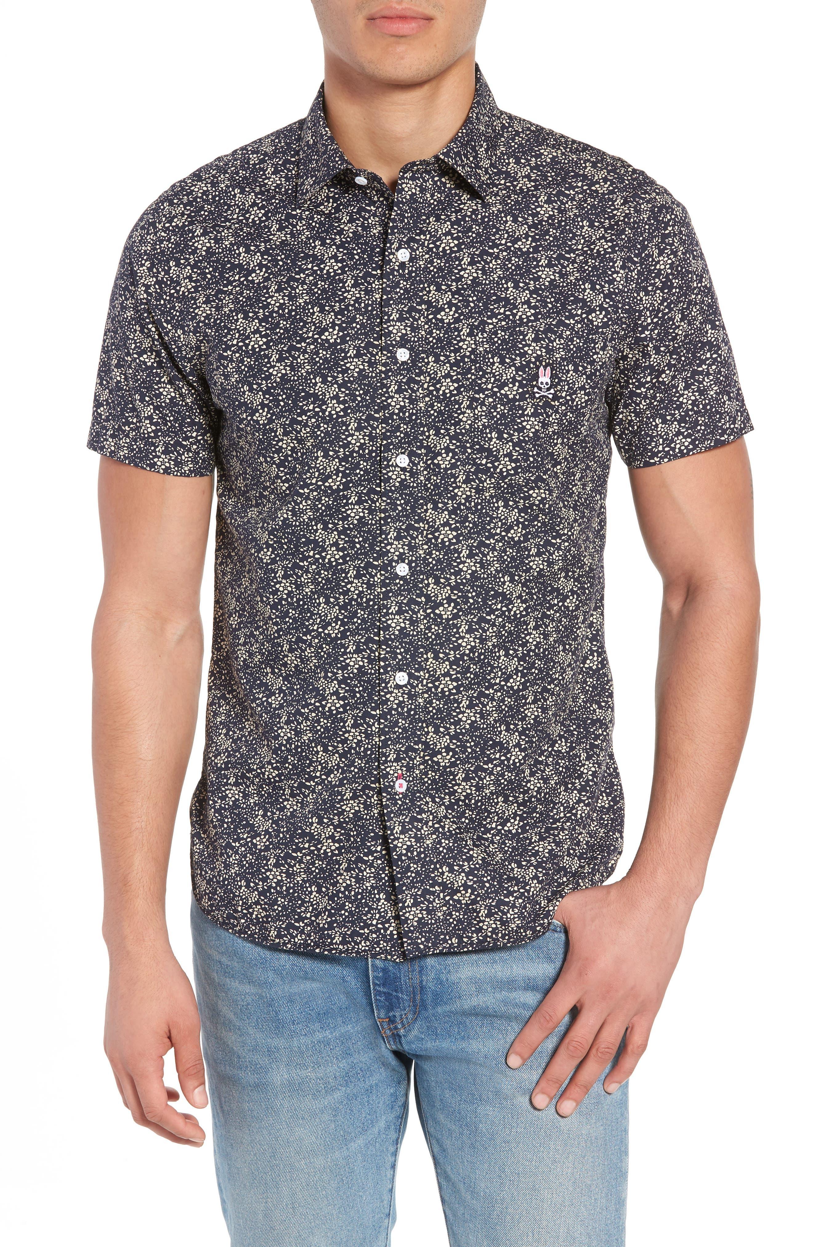Print Sport Shirt,                         Main,                         color, Navy