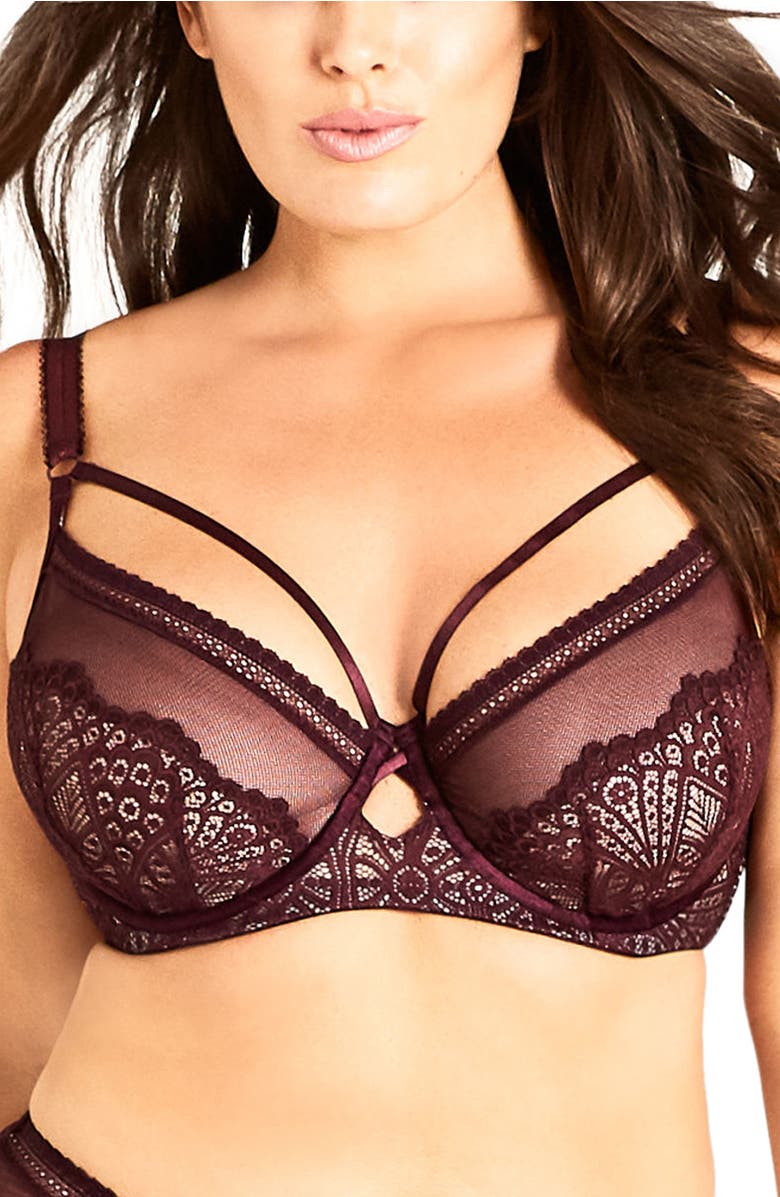 ea6cc28583 City Chic Darcy Underwire Contour Bra In Berry
