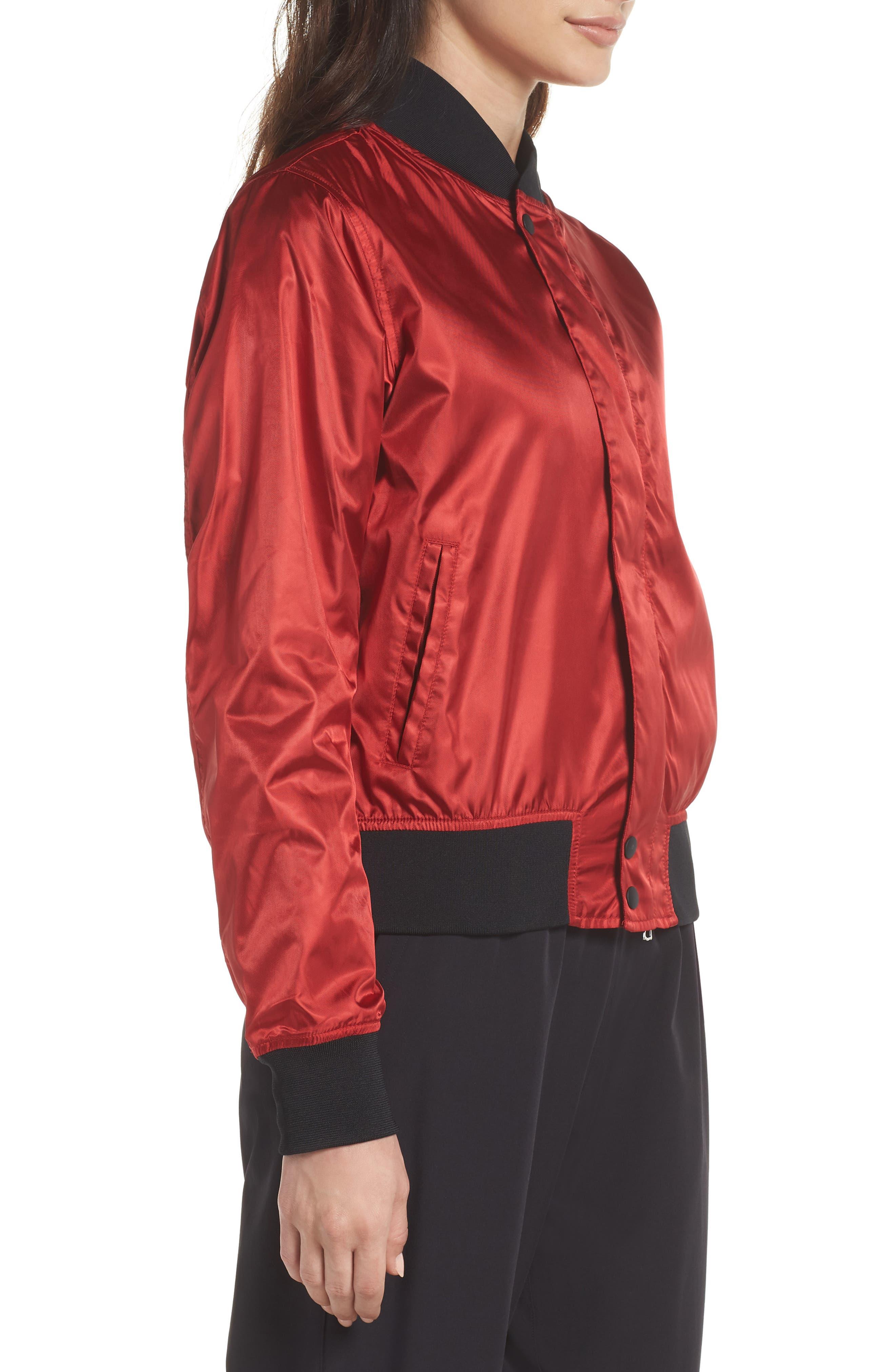 NikeLab Collection Women's Satin Bomber Jacket,                             Alternate thumbnail 3, color,                             Gym Red/ Black