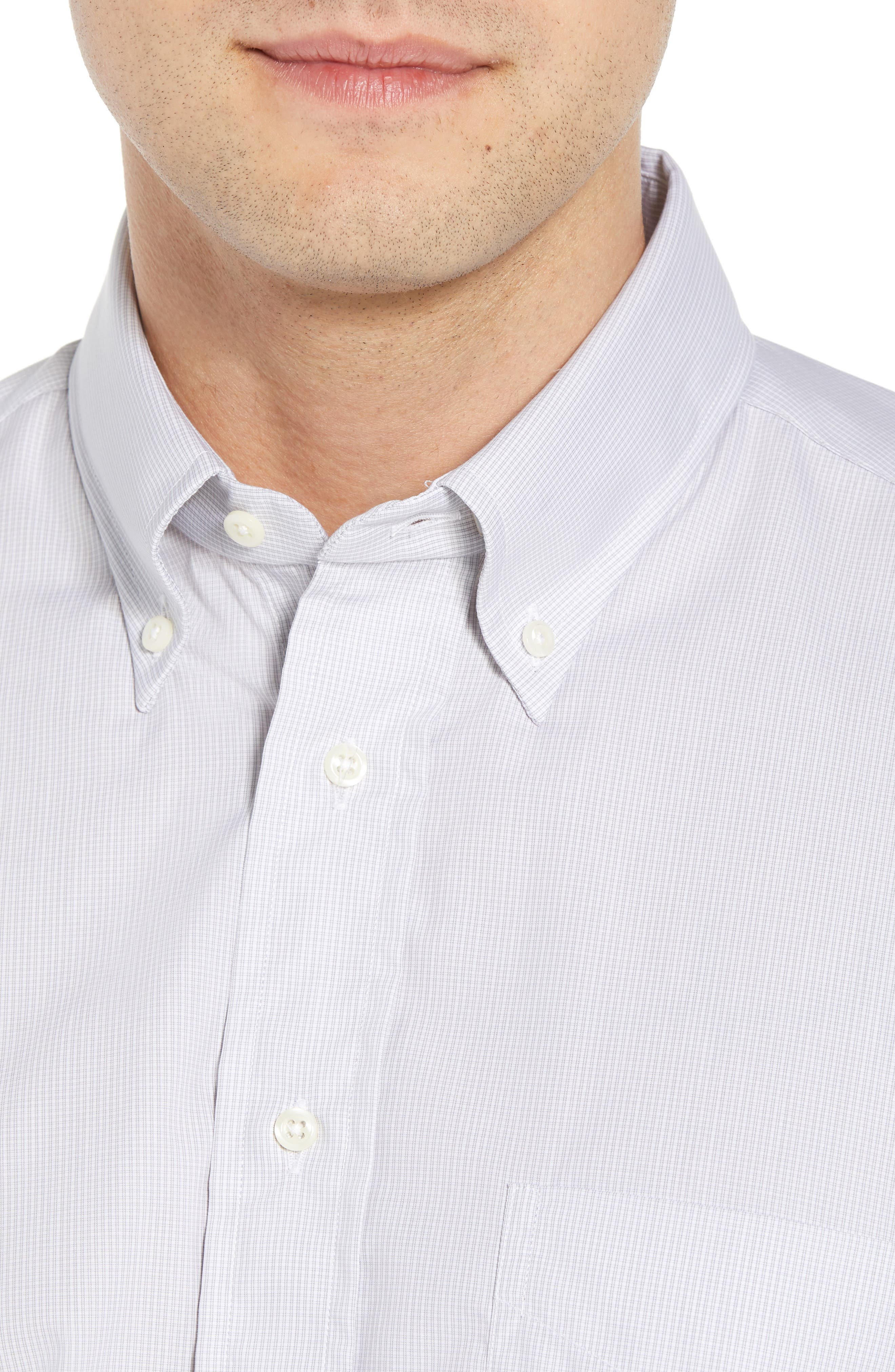 Tailored Fit Check Dress Shirt,                             Alternate thumbnail 2, color,                             Charcoal