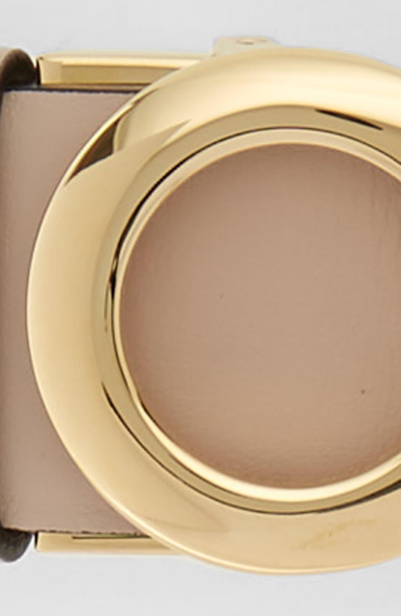 Reversible Gancini Leather Belt,                             Alternate thumbnail 4, color,                             New Bisque/ Nero