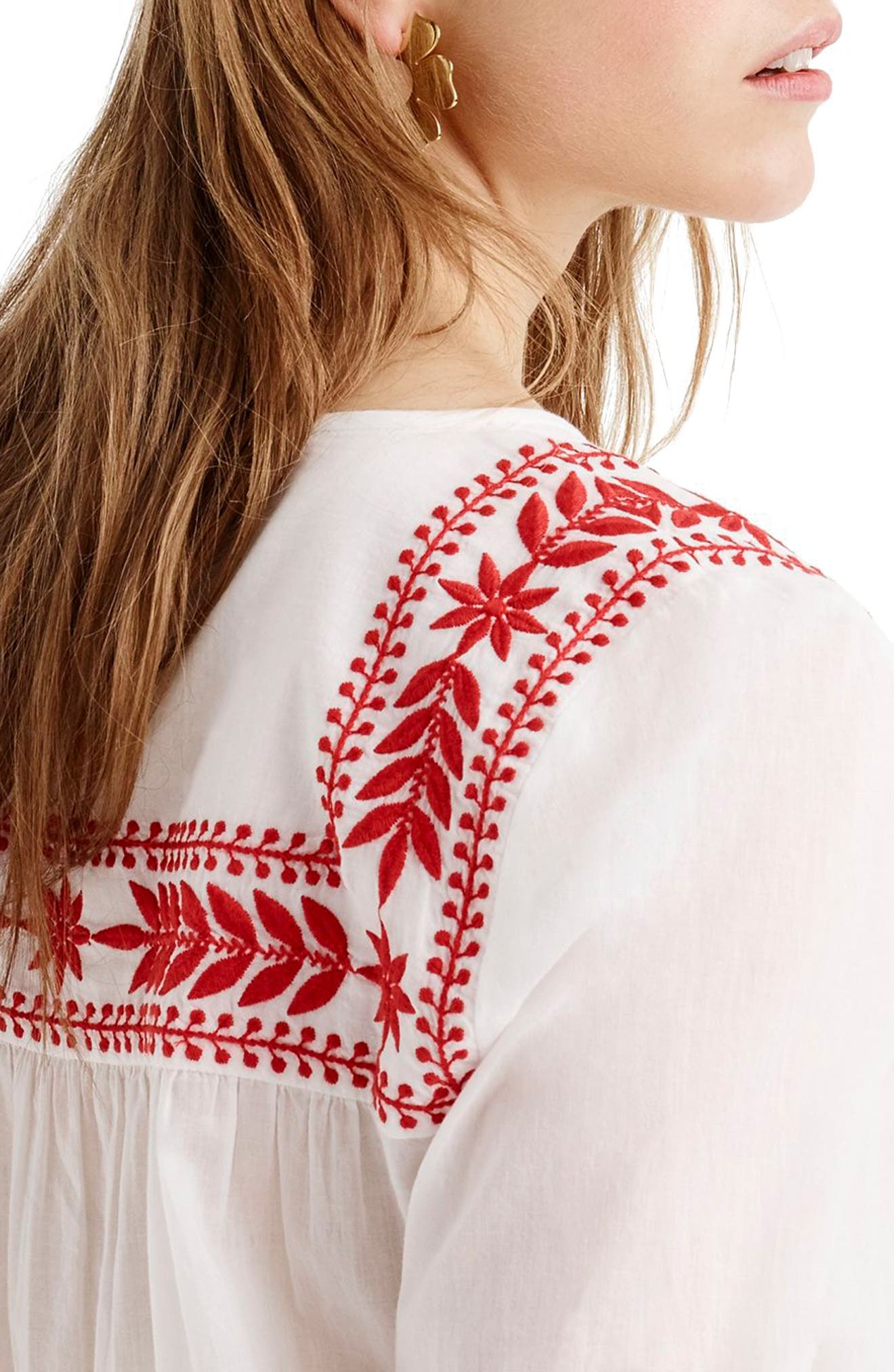 J.Crew Embroidered Semolina Top,                             Alternate thumbnail 5, color,                             White Red