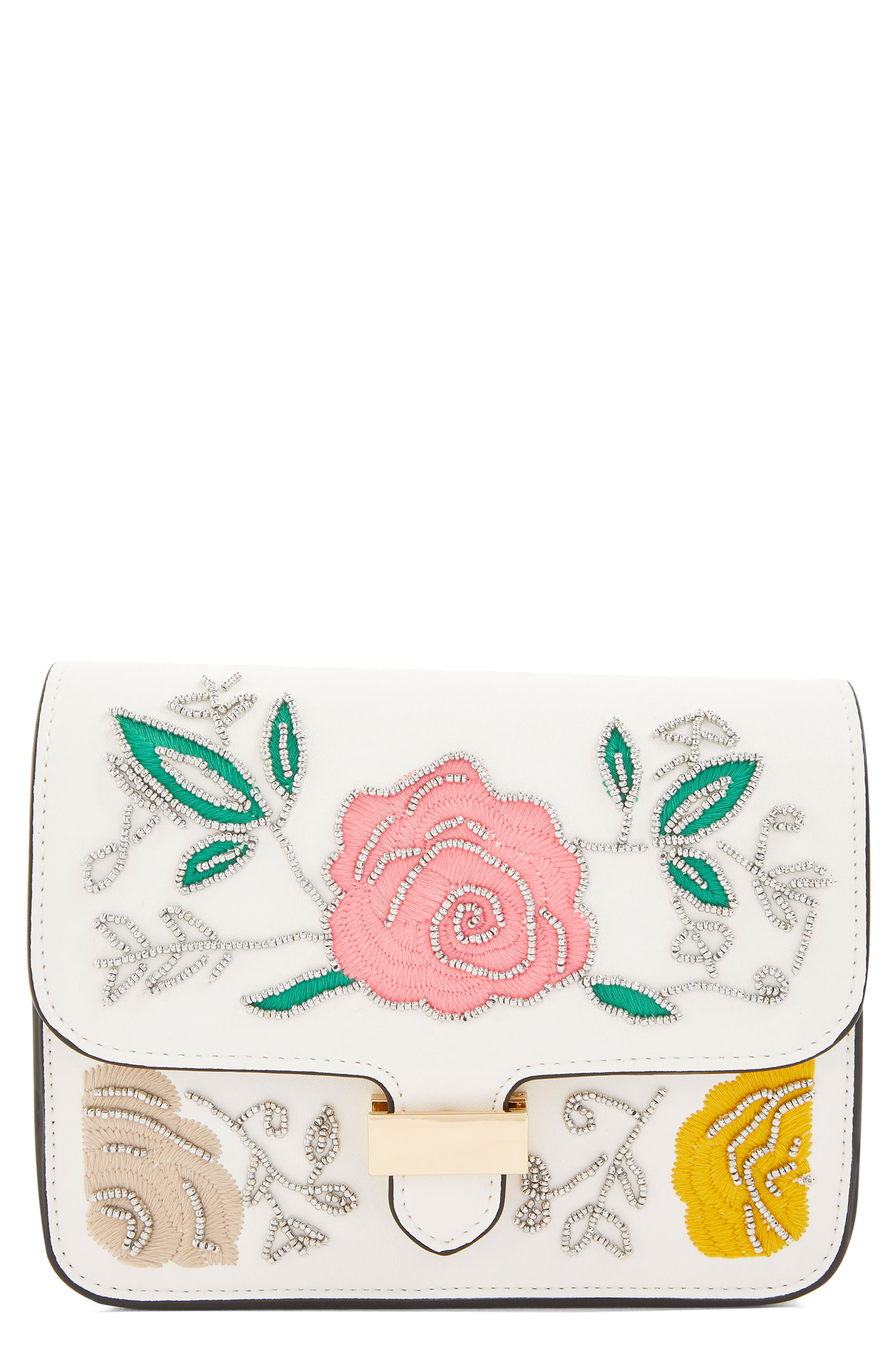 Lily Flower Bead Crossbody Bag,                             Main thumbnail 1, color,                             White Multi