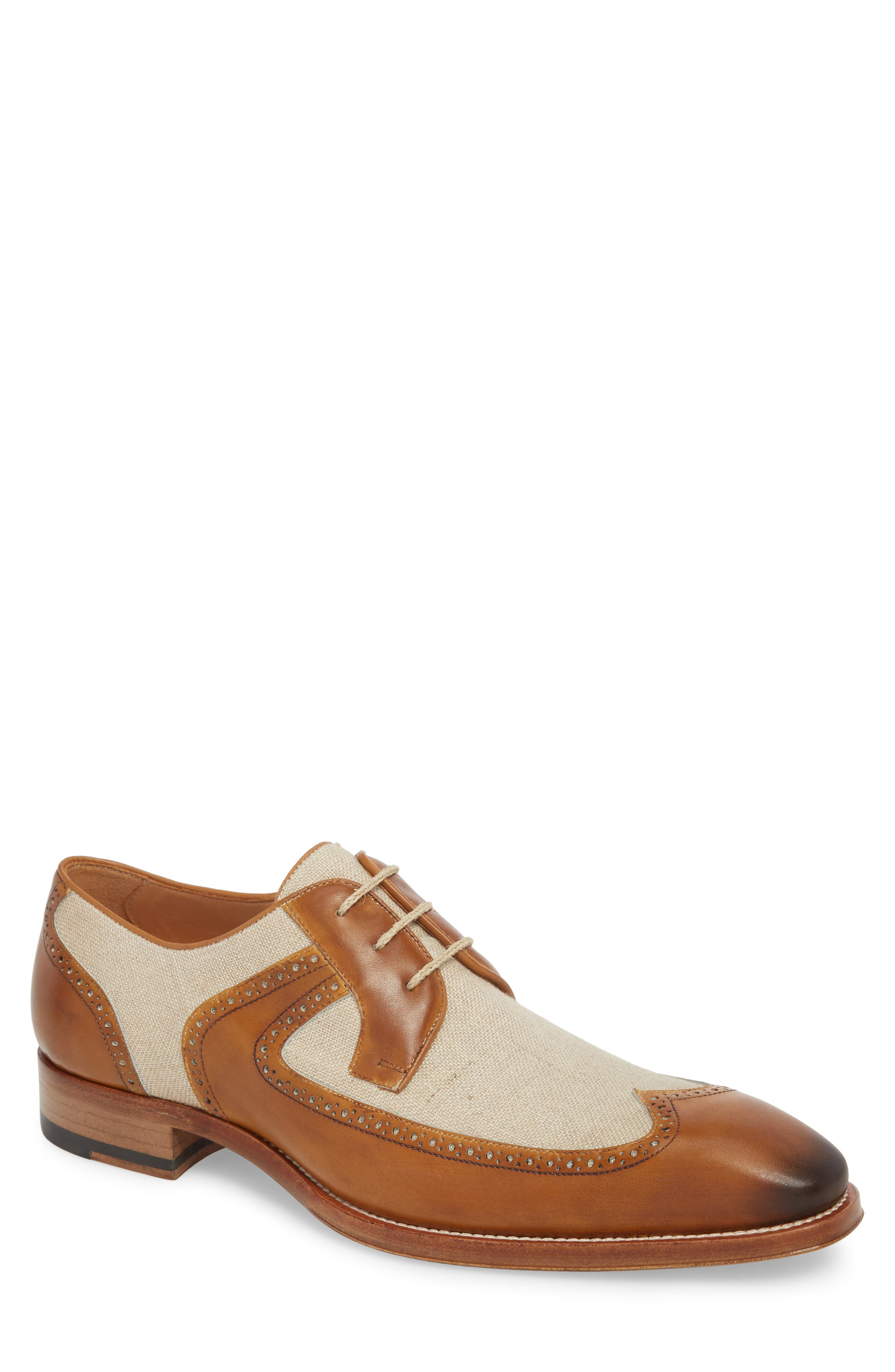 Teseo Spectator Wingtip Derby,                         Main,                         color, Honey/ Bone Leather