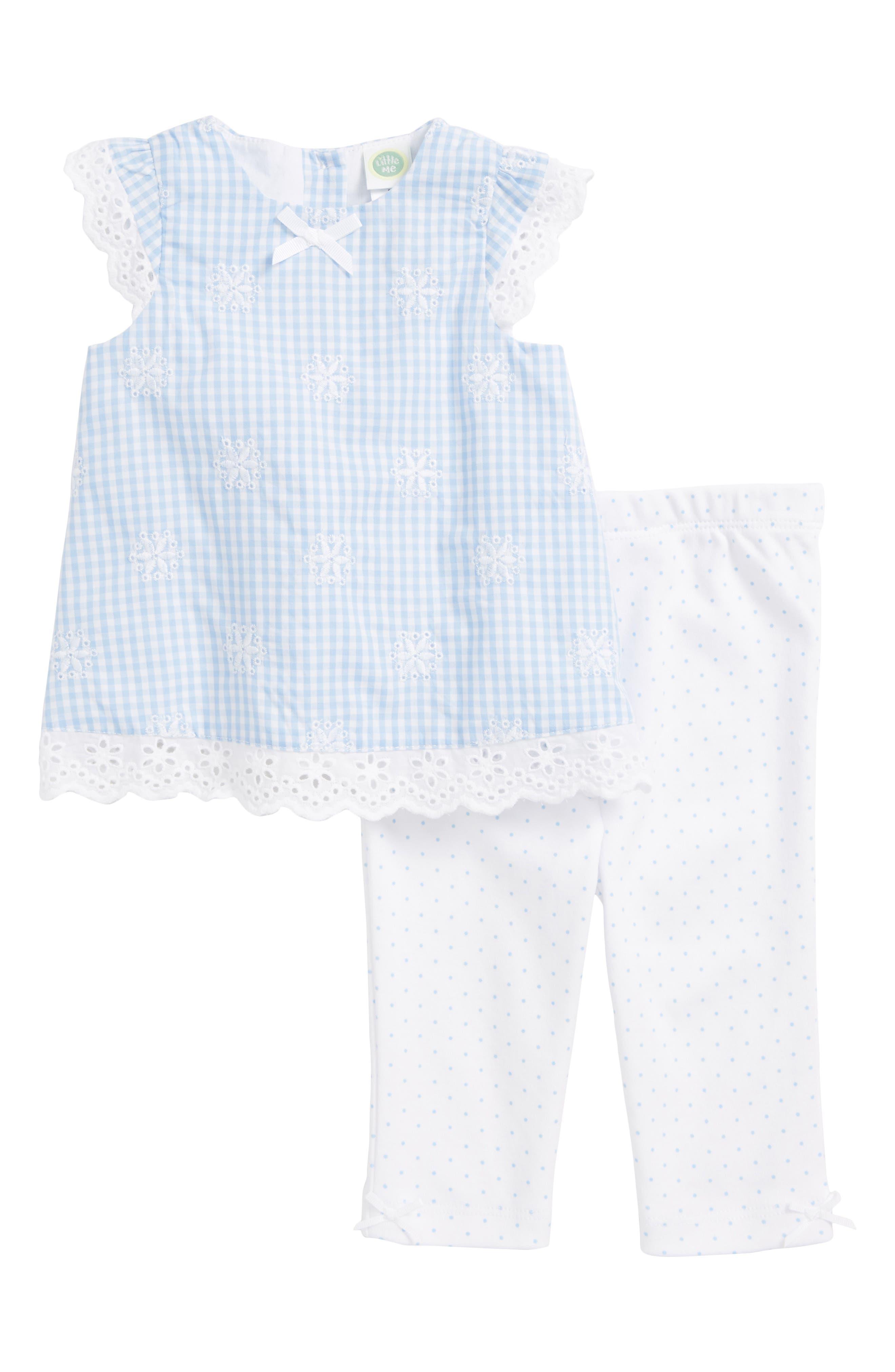 Little Me Gingham Eyelet Woven Tunic, Leggings & Headband Set (Baby Girls)
