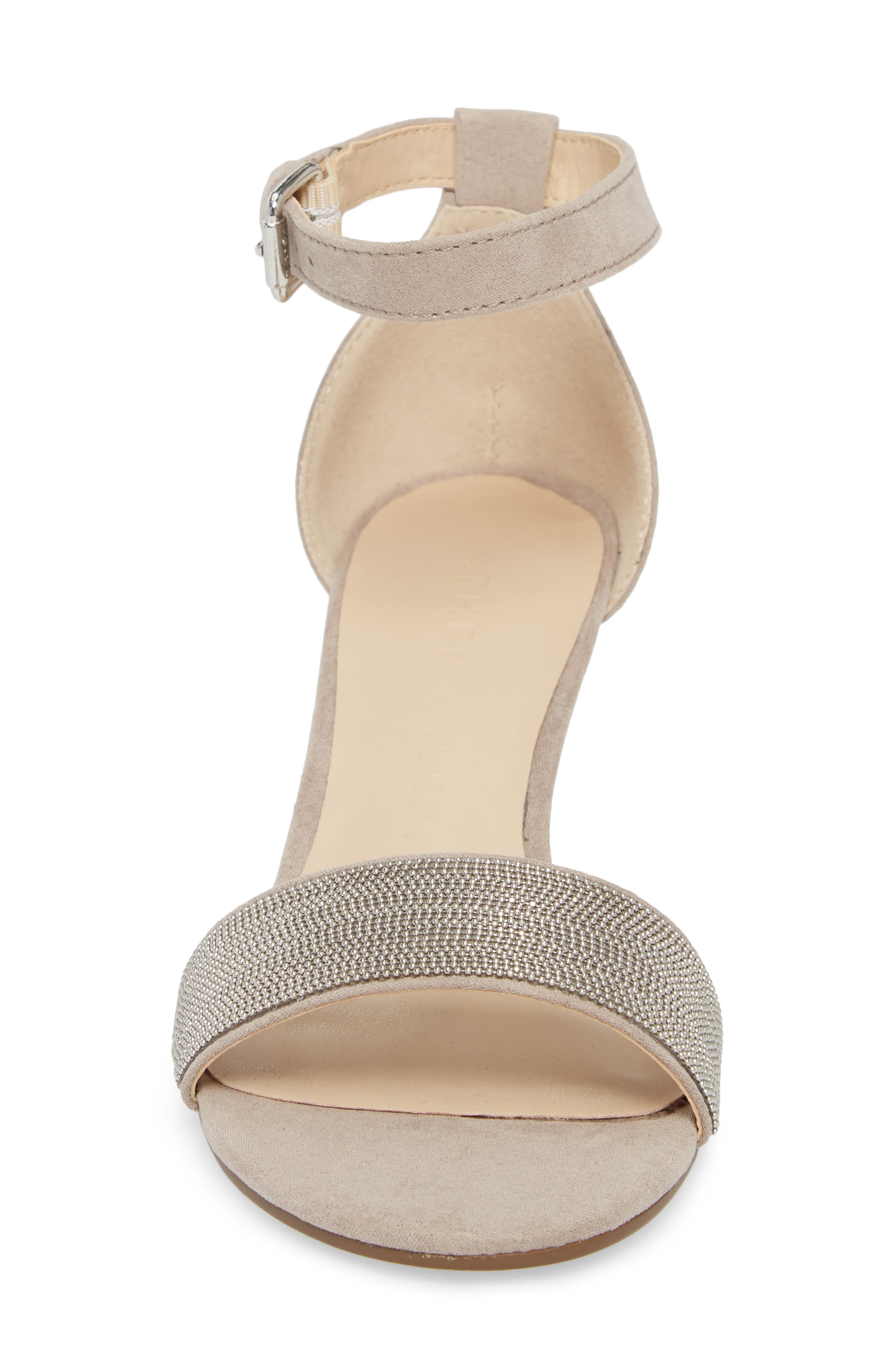Enfield Ankle Strap Wedge Sandal,                             Alternate thumbnail 4, color,                             Taupe Suede