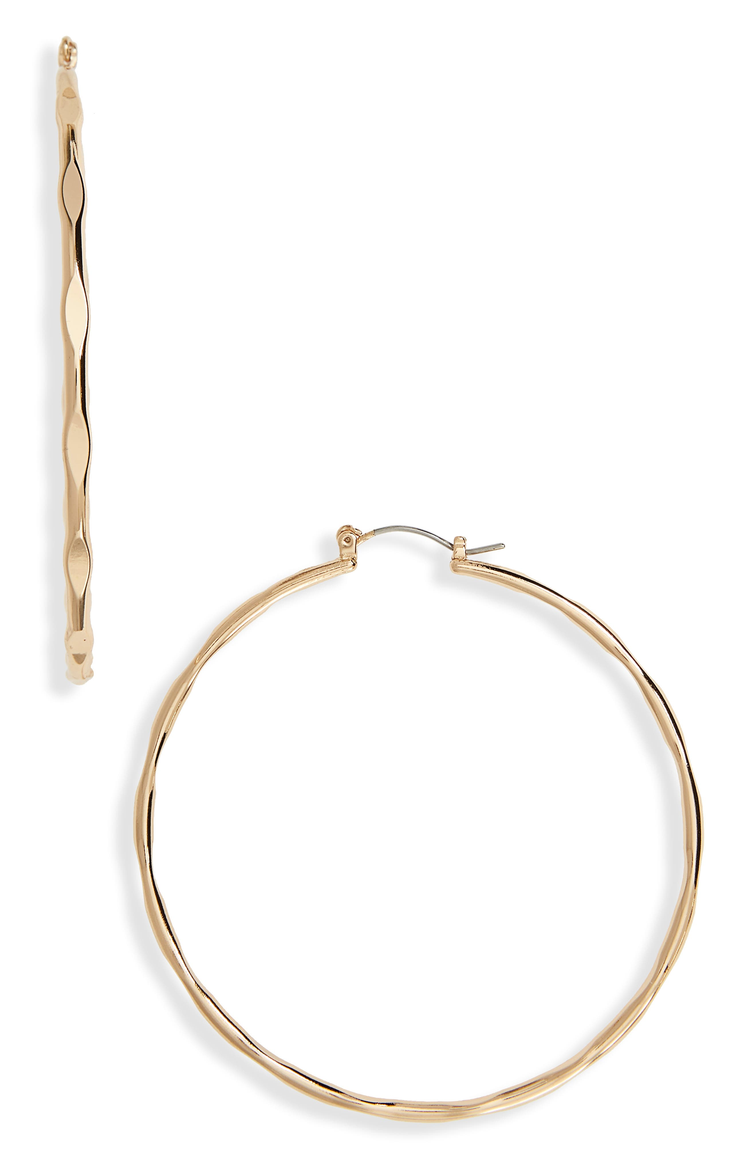 Large Hoop Earrings,                         Main,                         color, Gold