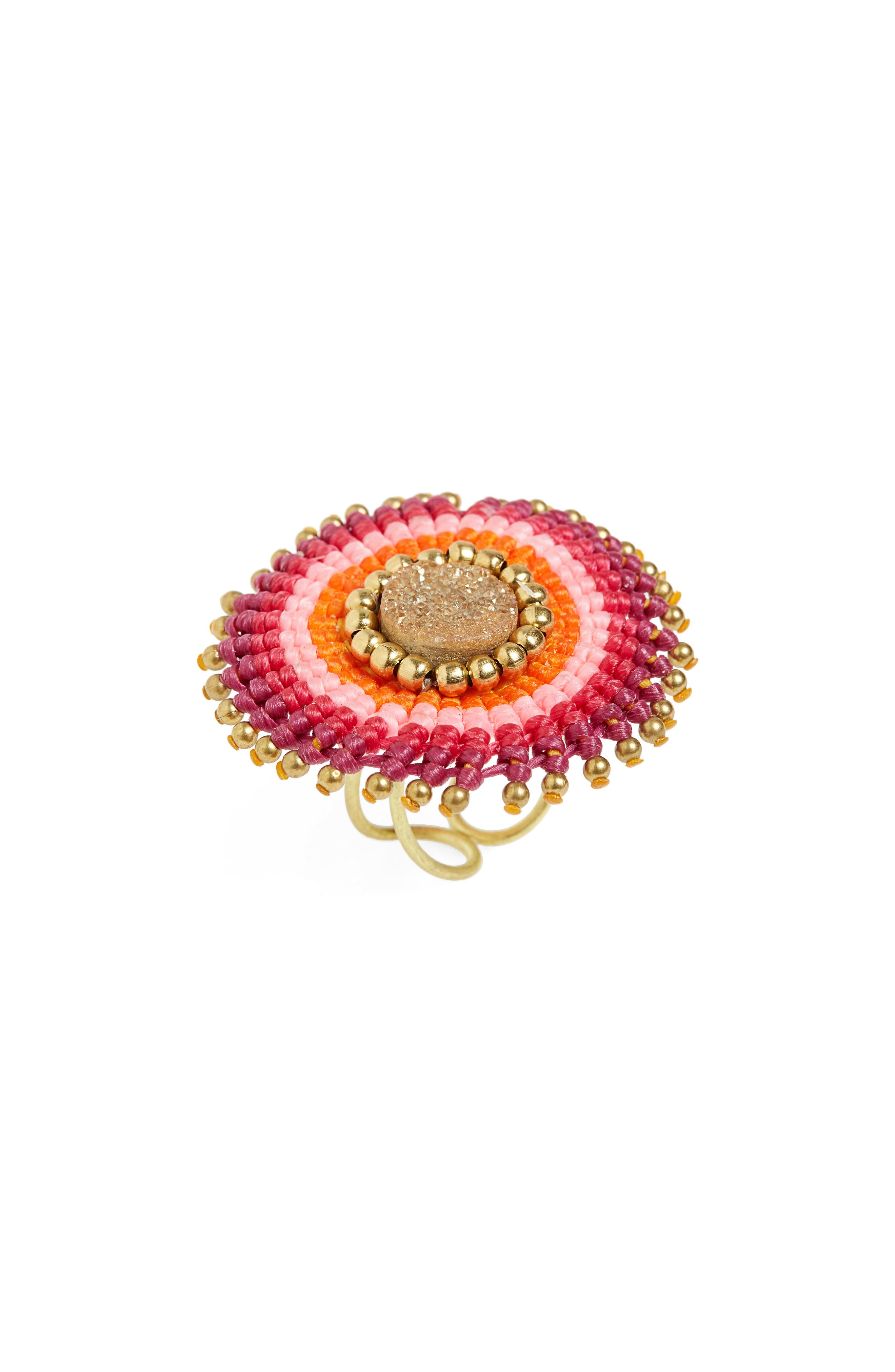 Thread Wrapped Drusy Ring,                         Main,                         color, Pink