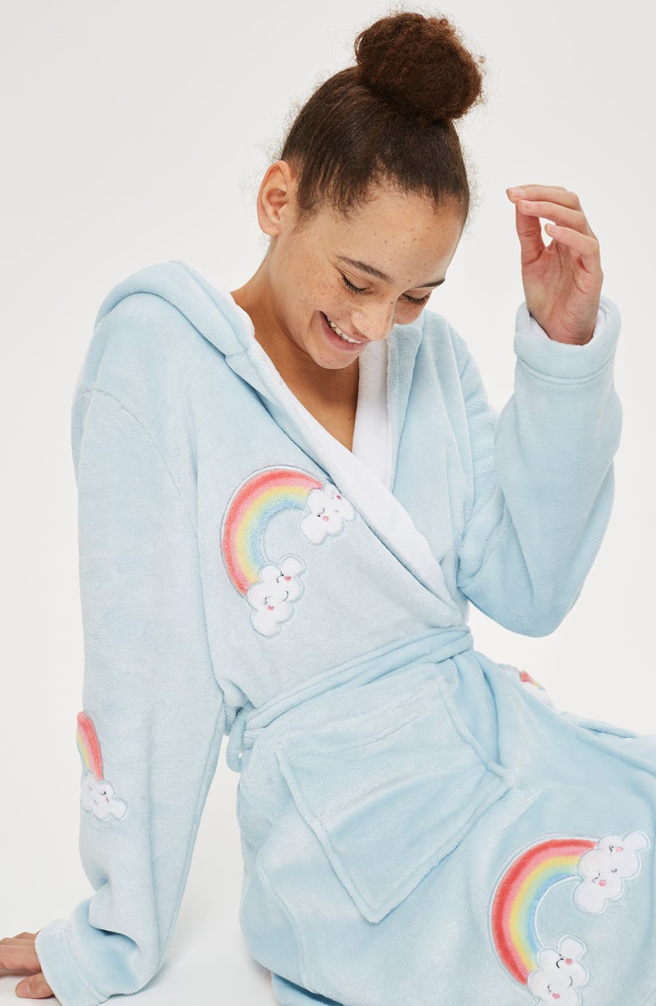 Alternate Image 2  - Topshop Rainbow Dressing Robe