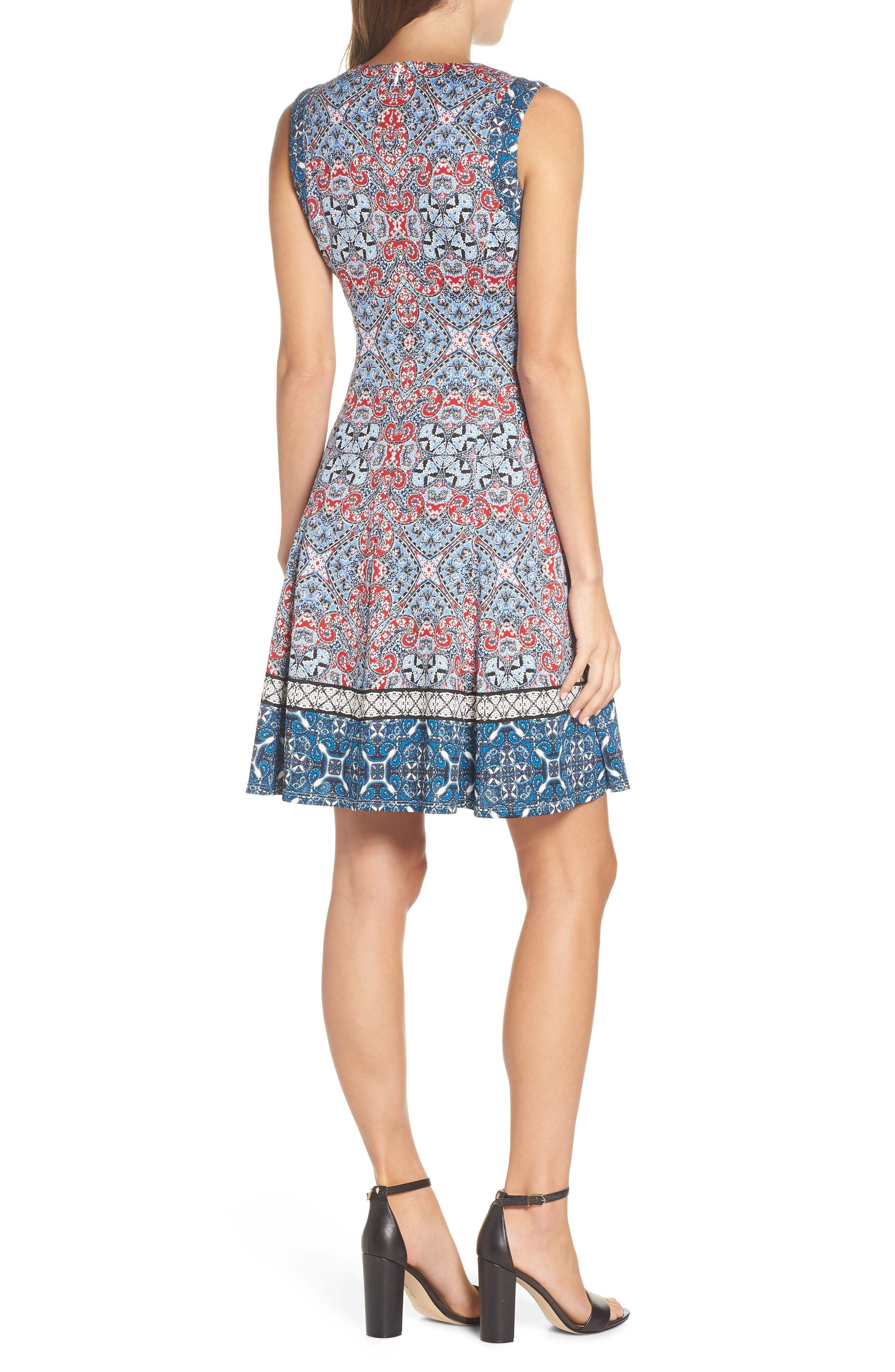 Print Scuba Fit & Flare Dress,                             Alternate thumbnail 2, color,                             Soft White/ Red