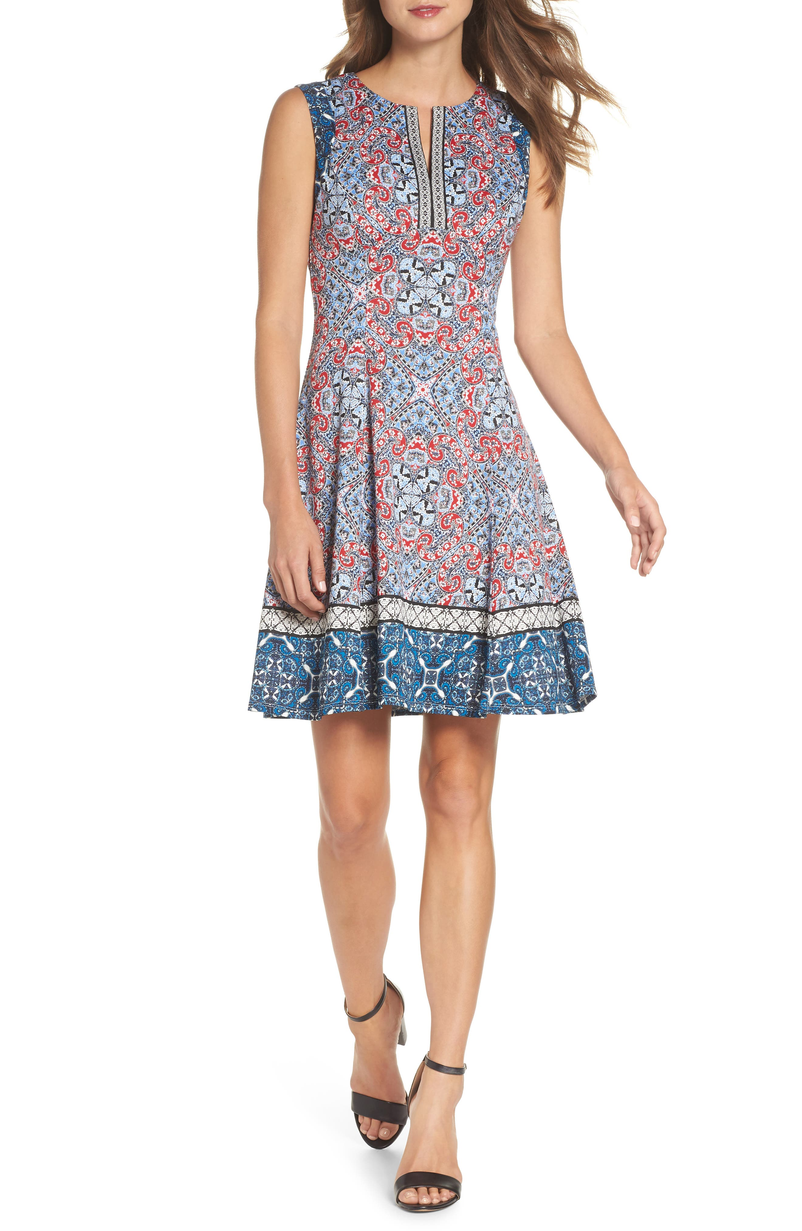 Print Scuba Fit & Flare Dress,                         Main,                         color, Soft White/ Red