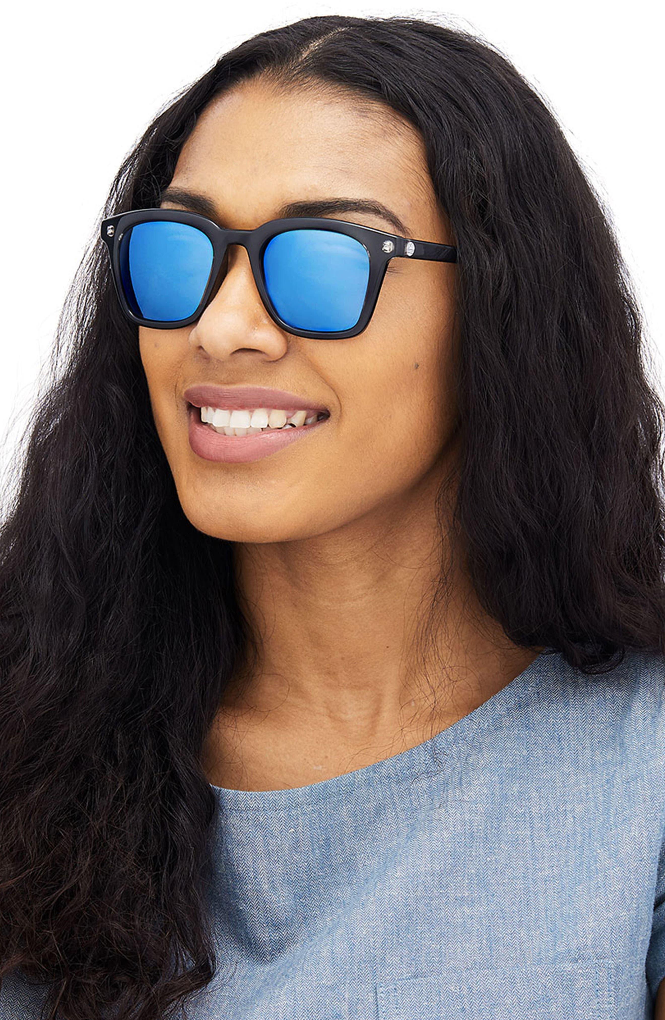 Moraga 47mm Polarized Sunglasses,                             Alternate thumbnail 3, color,                             Black Aqua