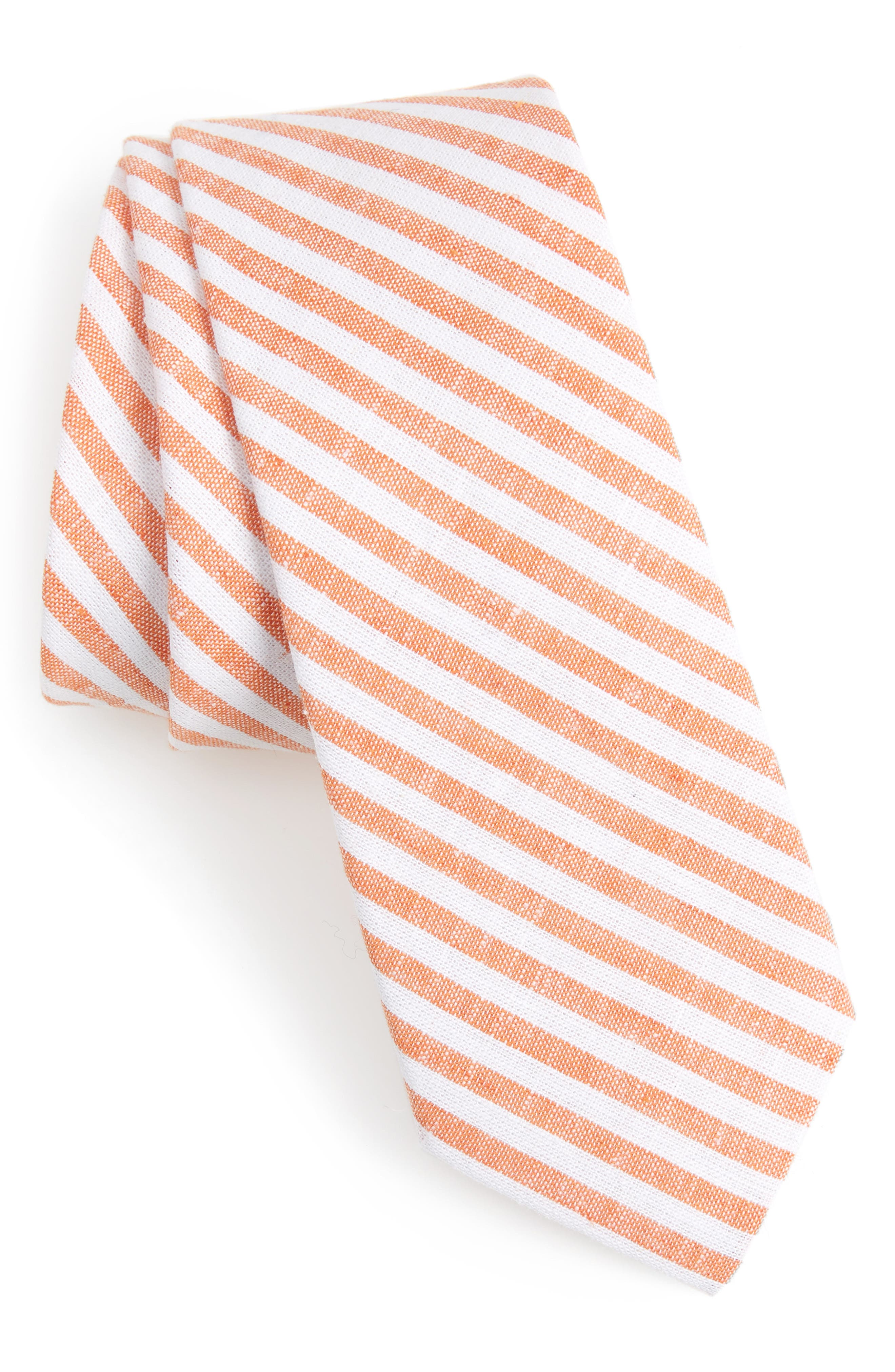 Telary Stripe Cotton Skinny Tie,                             Main thumbnail 1, color,                             Orange